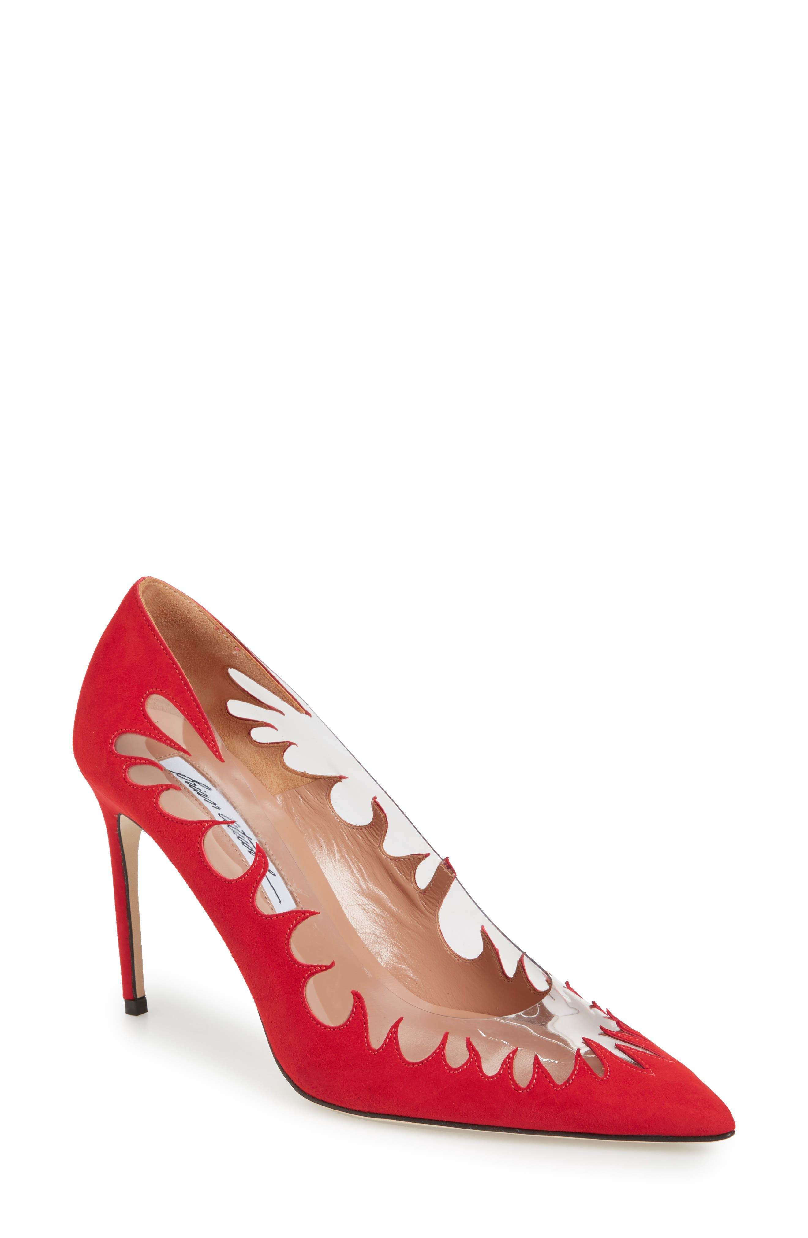 BRIAN ATWOOD Women'S Victory Suede Cutout Pointed Toe Pumps in Red Suede