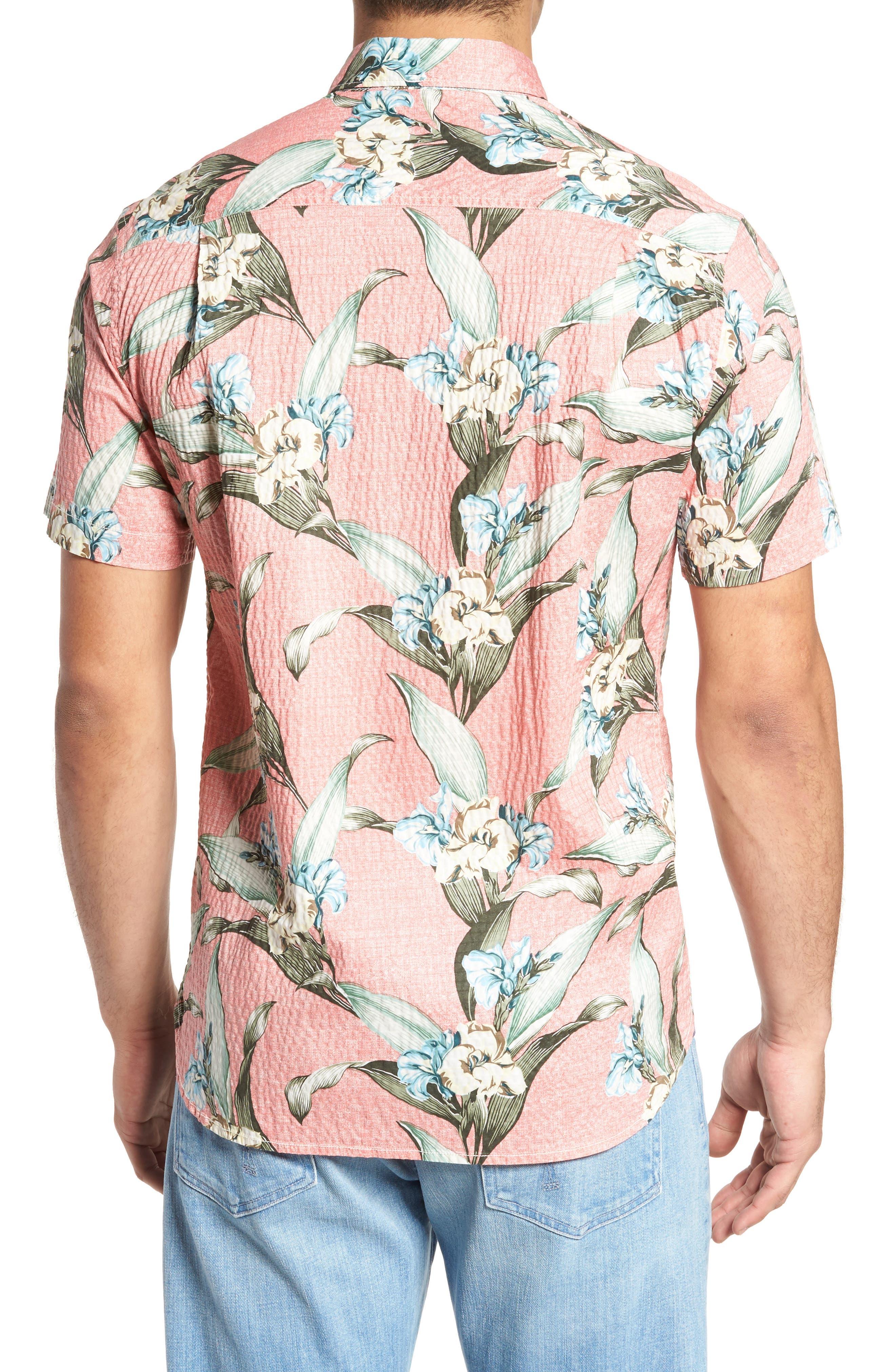 Cape Floral Seersucker Sport Shirt,                             Alternate thumbnail 2, color,