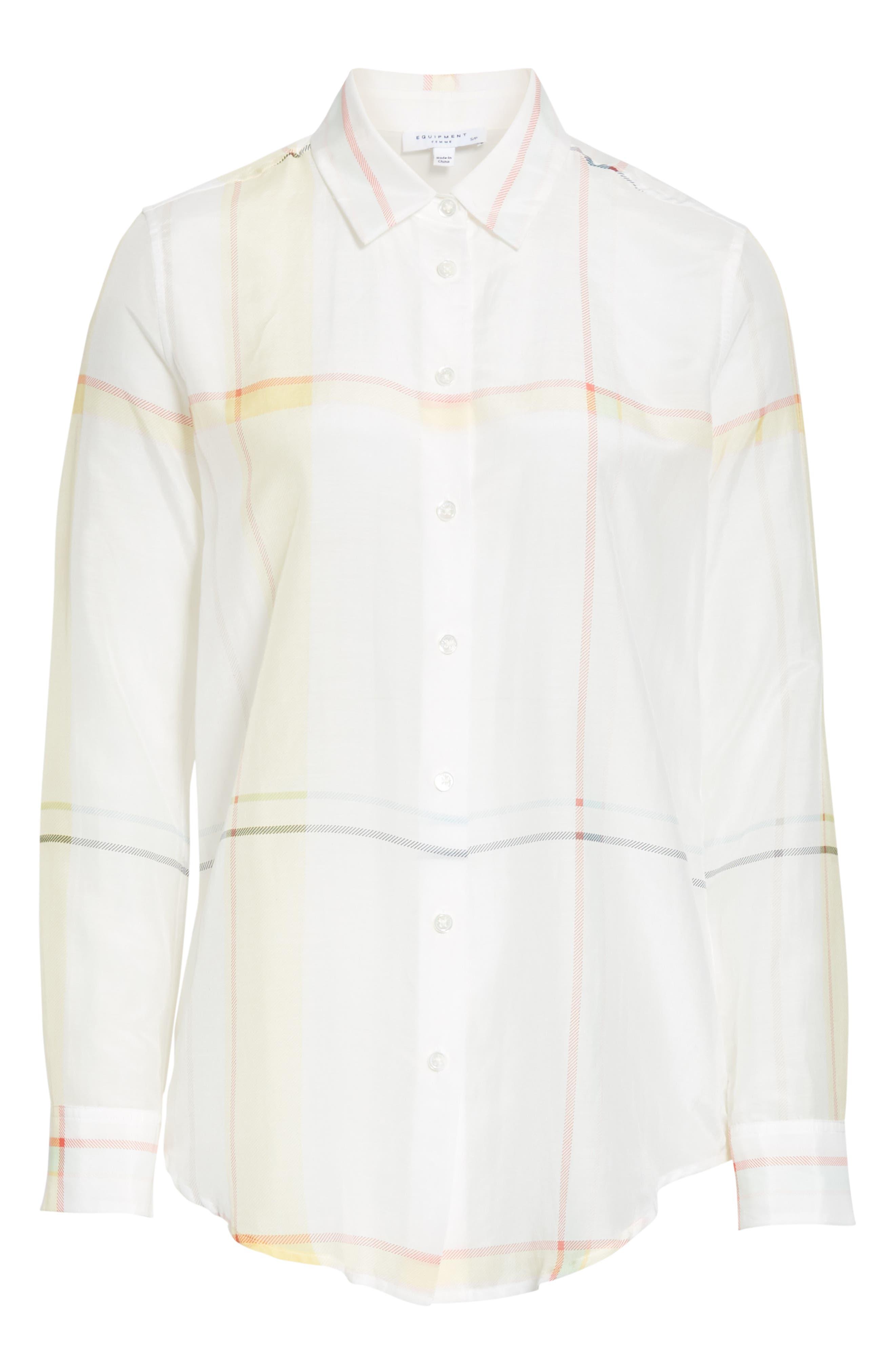 Essential Plaid Cotton & Silk Shirt,                             Alternate thumbnail 6, color,                             NATURE WHITE MULTI