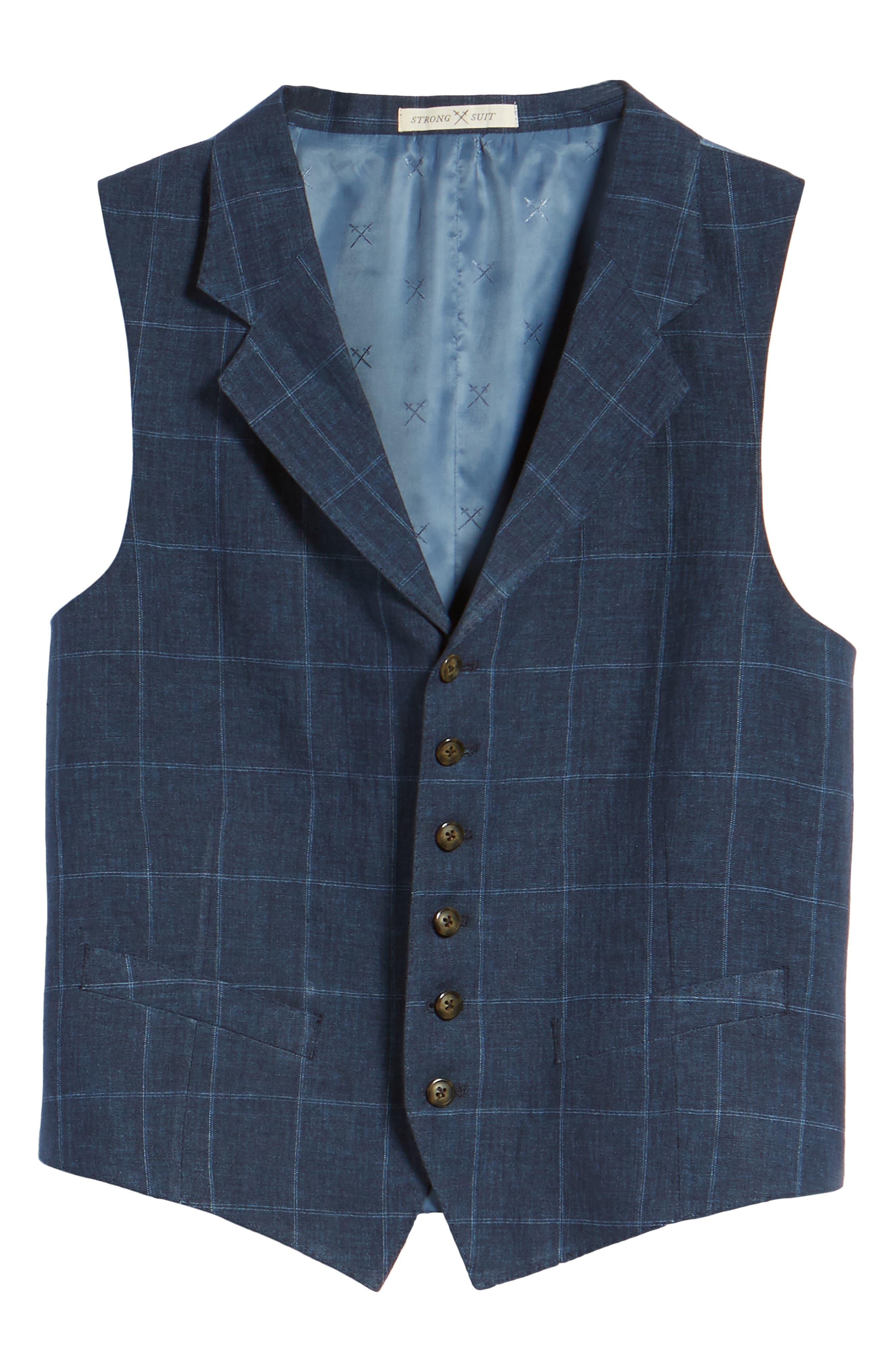 Stag Trim Fit Windowpane Linen Vest,                             Alternate thumbnail 5, color,                             400