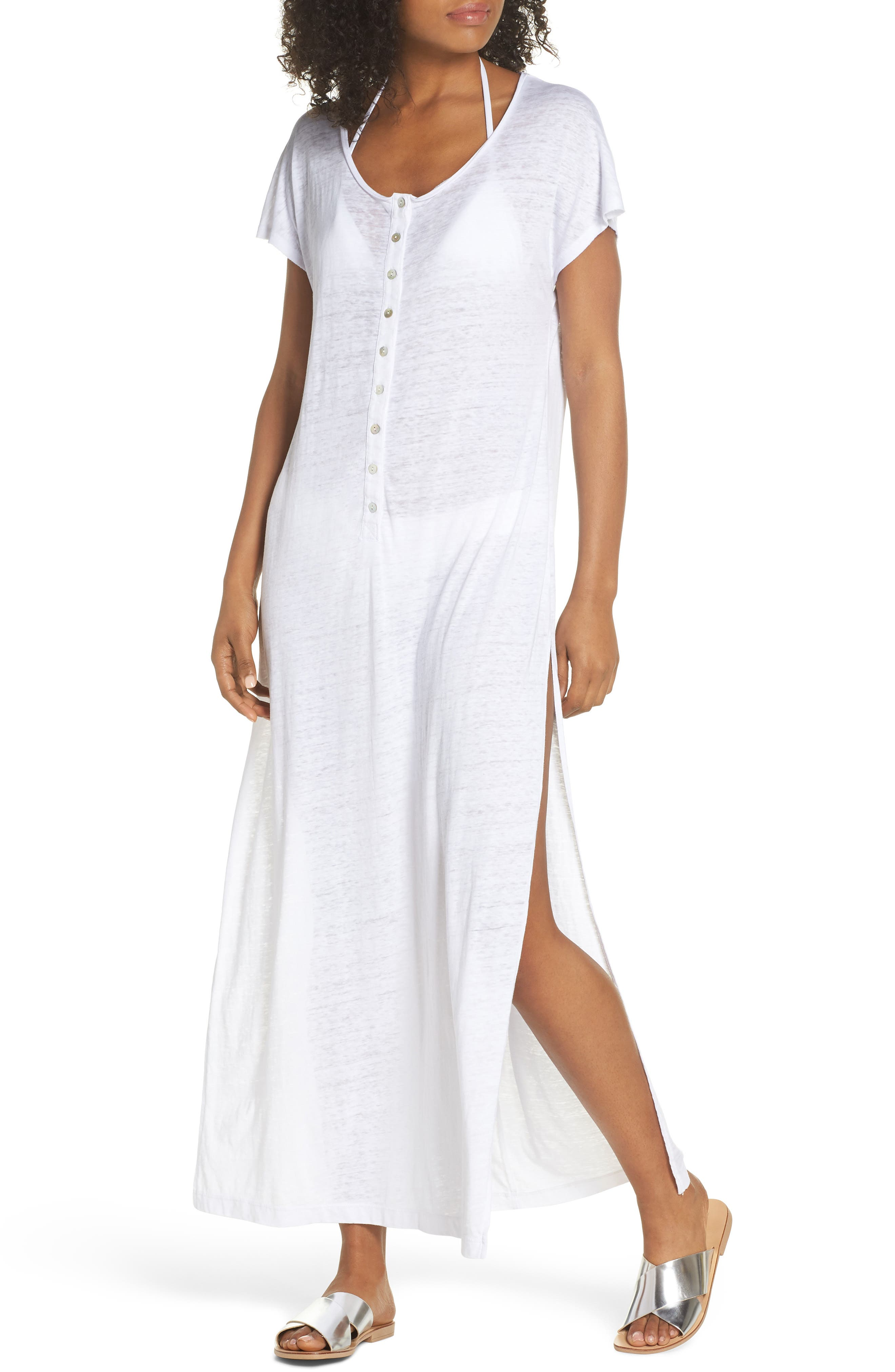 Henley Cover-Up Maxi Dress,                         Main,                         color, 100
