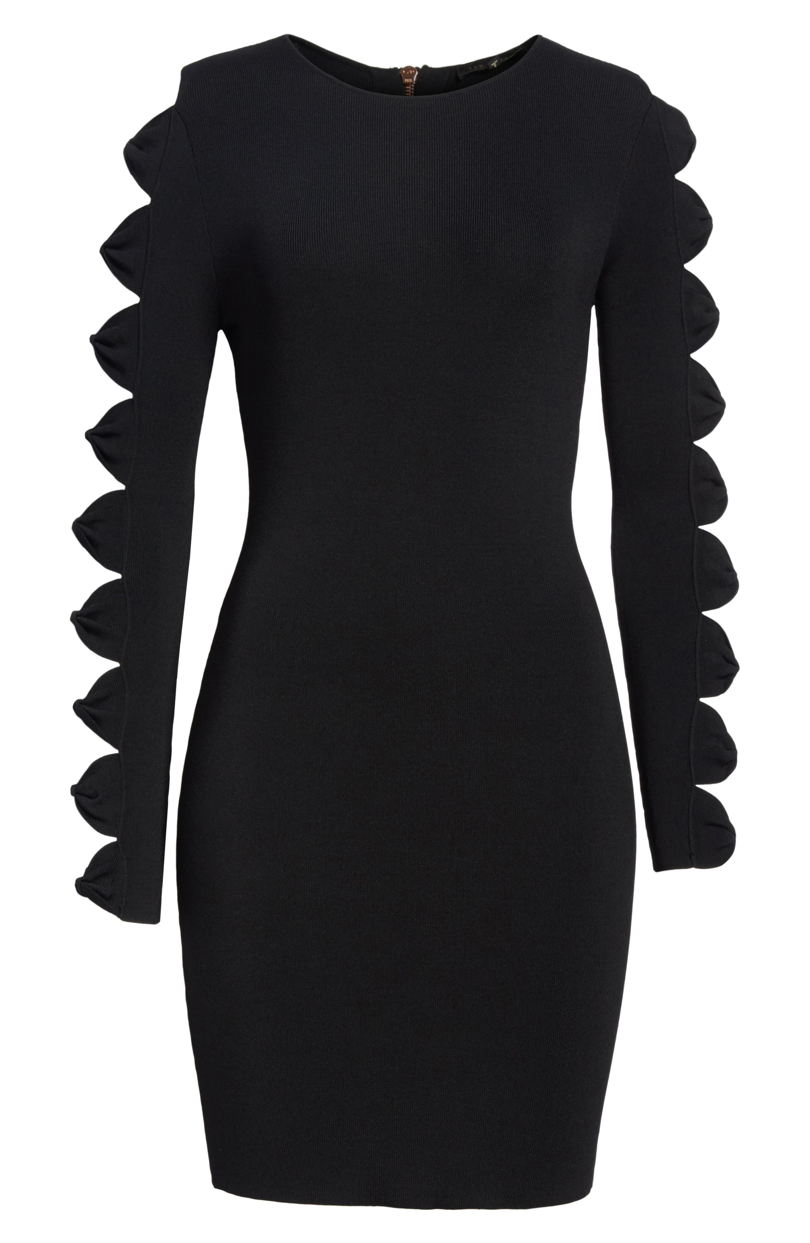 Knotted Sleeve Body-Con Dress,                             Alternate thumbnail 6, color,                             001