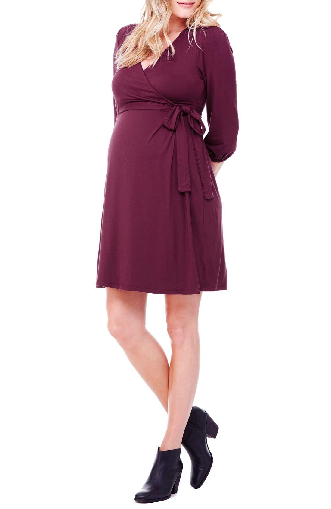 Nursing Friendly Maternity Wrap Dress,                             Main thumbnail 6, color,