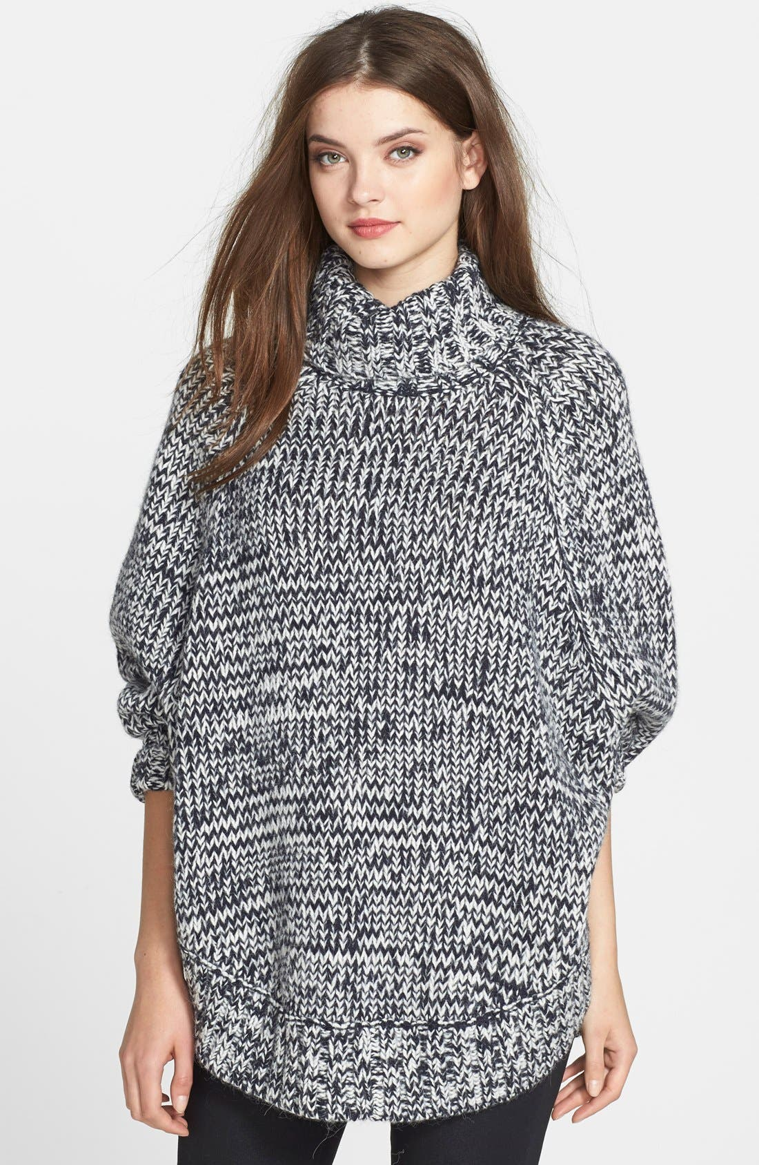 Turtleneck Poncho Sweater,                             Main thumbnail 2, color,