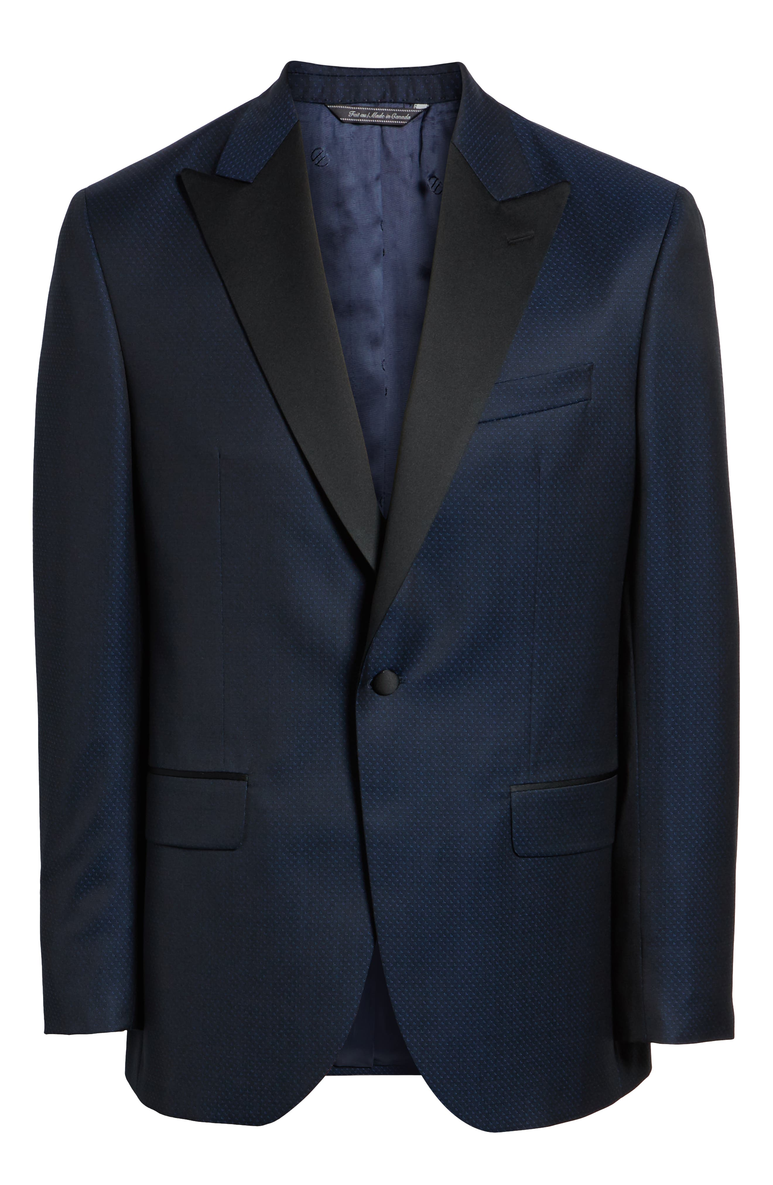 DAVID DONAHUE,                             Russell Classic Fit Wool Dinner Jacket,                             Alternate thumbnail 5, color,                             NAVY