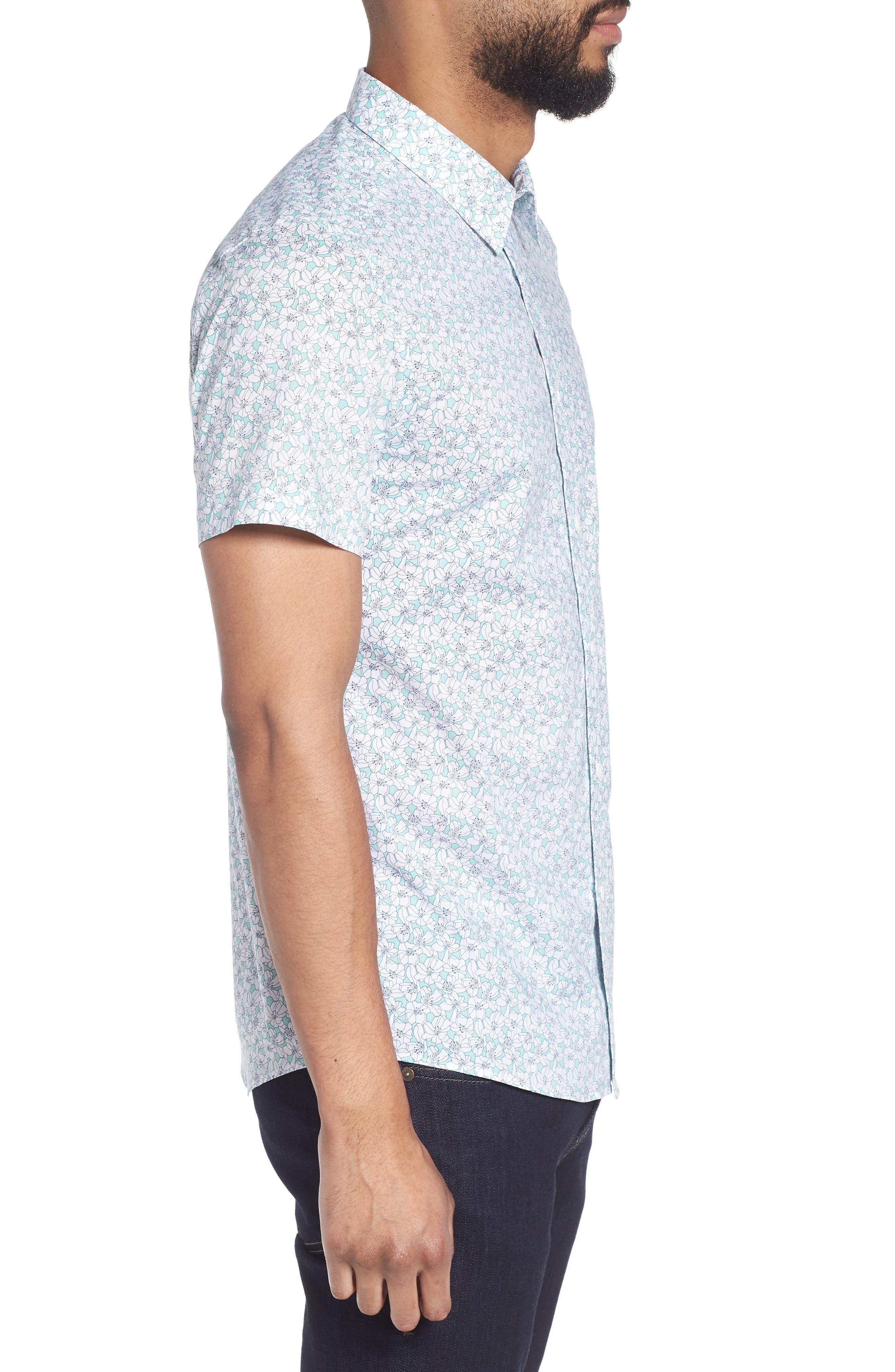 Slim Flit Floral Woven Shirt,                             Alternate thumbnail 3, color,                             332