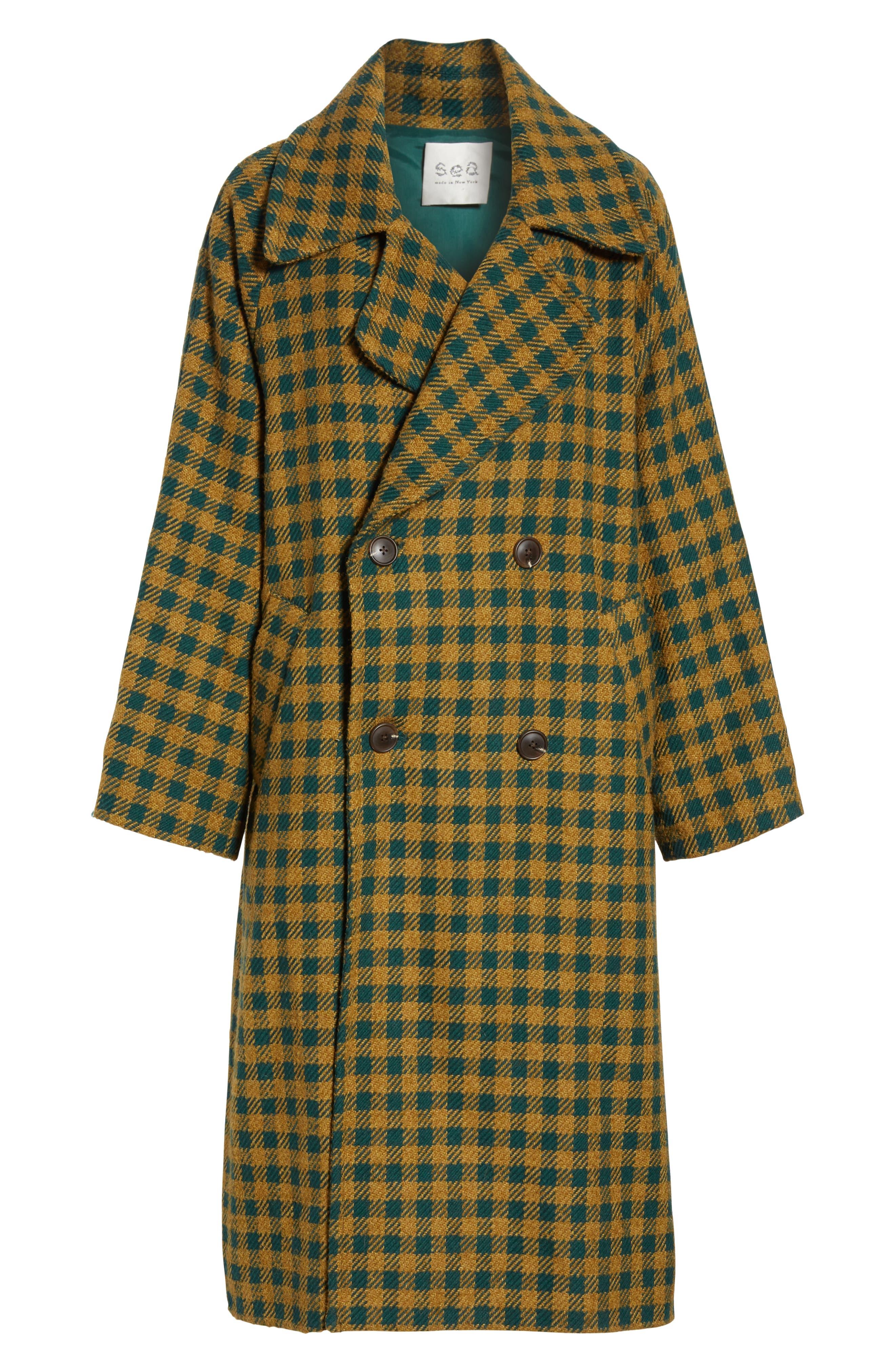 Ethno Pop Check Boyfriend Coat,                             Alternate thumbnail 5, color,                             GREEN CHECK