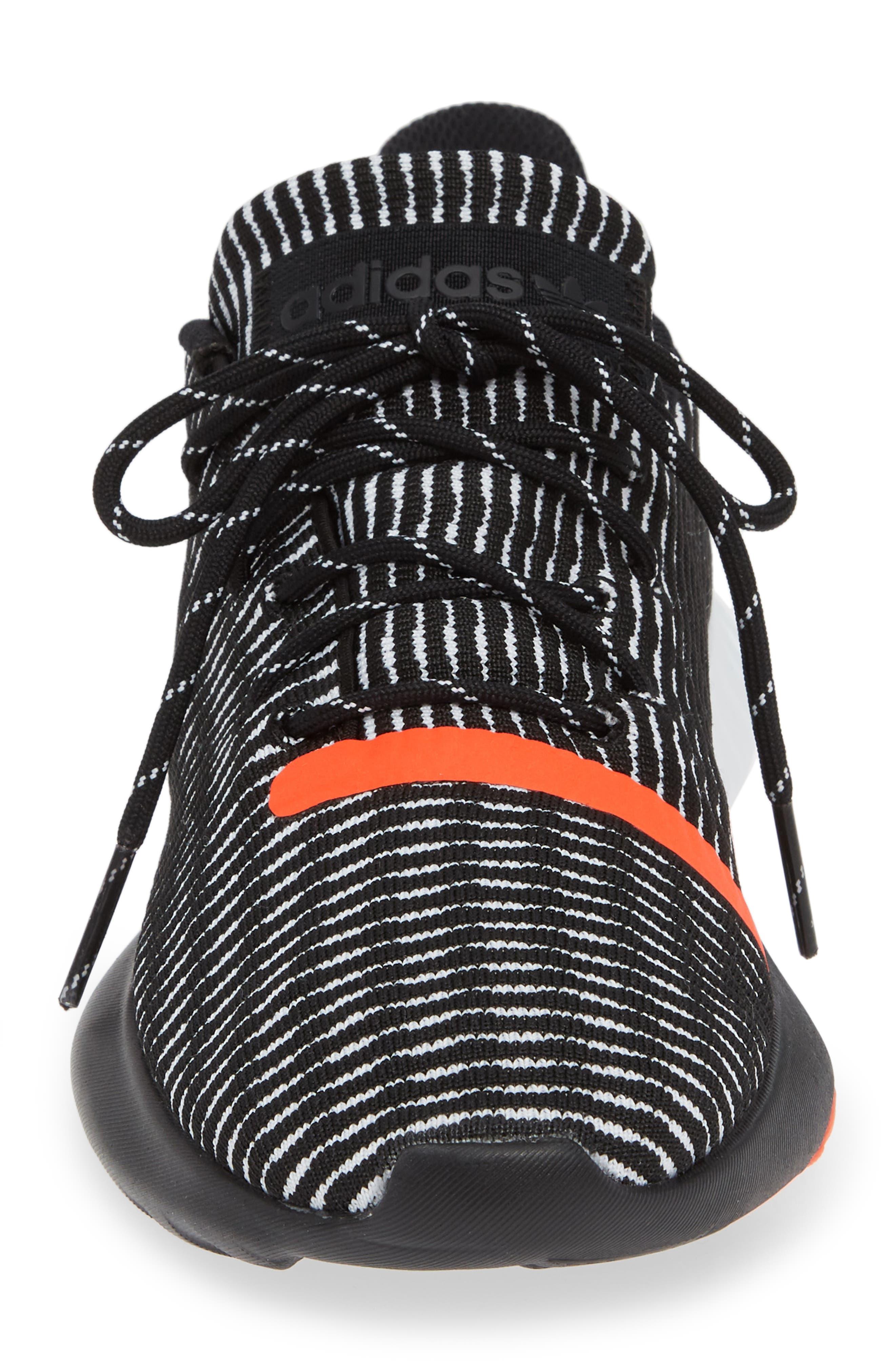 Tubular Dusk Primeknit Sneaker,                             Alternate thumbnail 4, color,                             BLACK/ WHITE/ SOLAR RED
