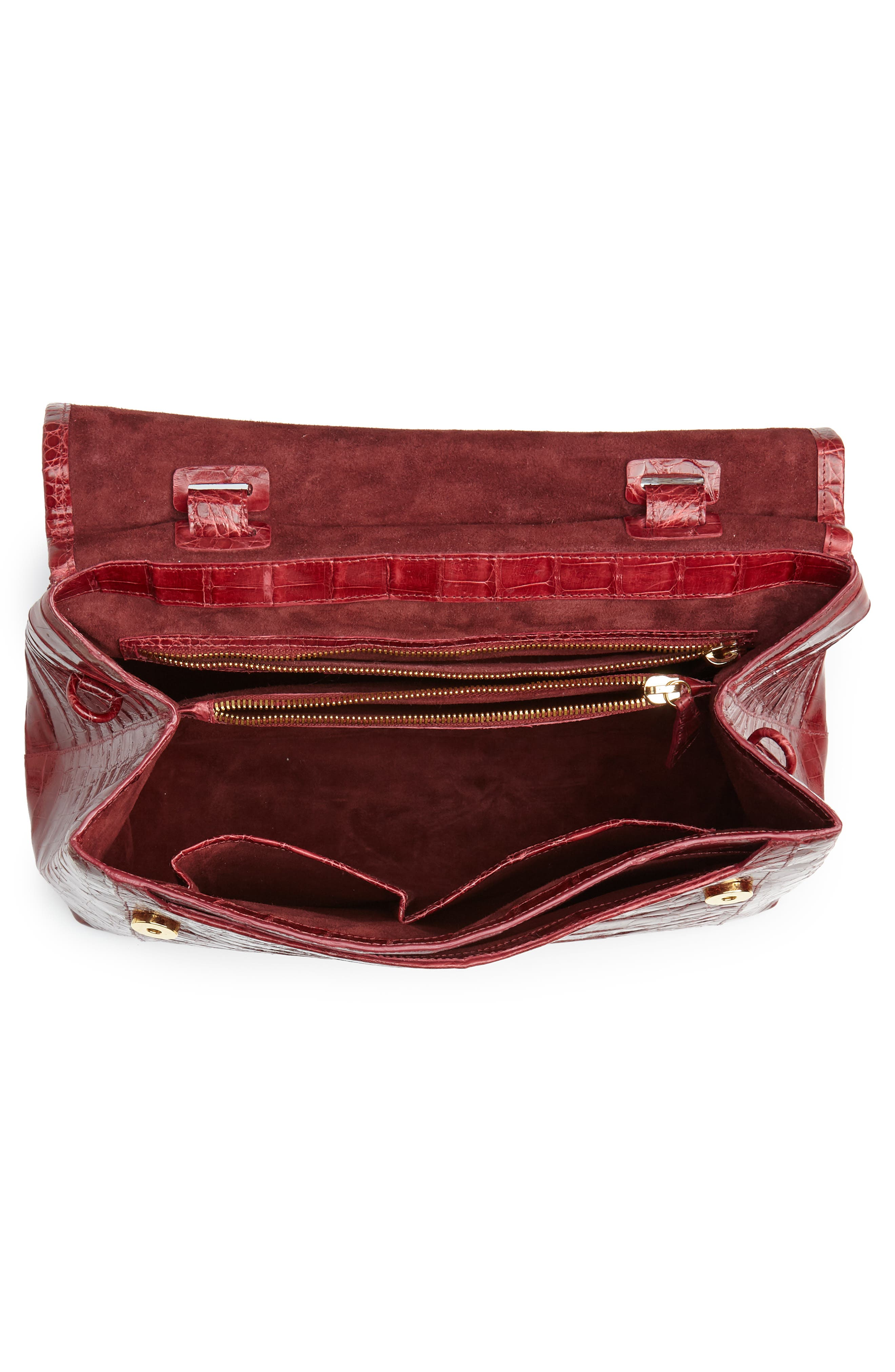Medium Sophie Genuine Crocodile Top Handle Bag,                             Alternate thumbnail 4, color,                             RED SHINY