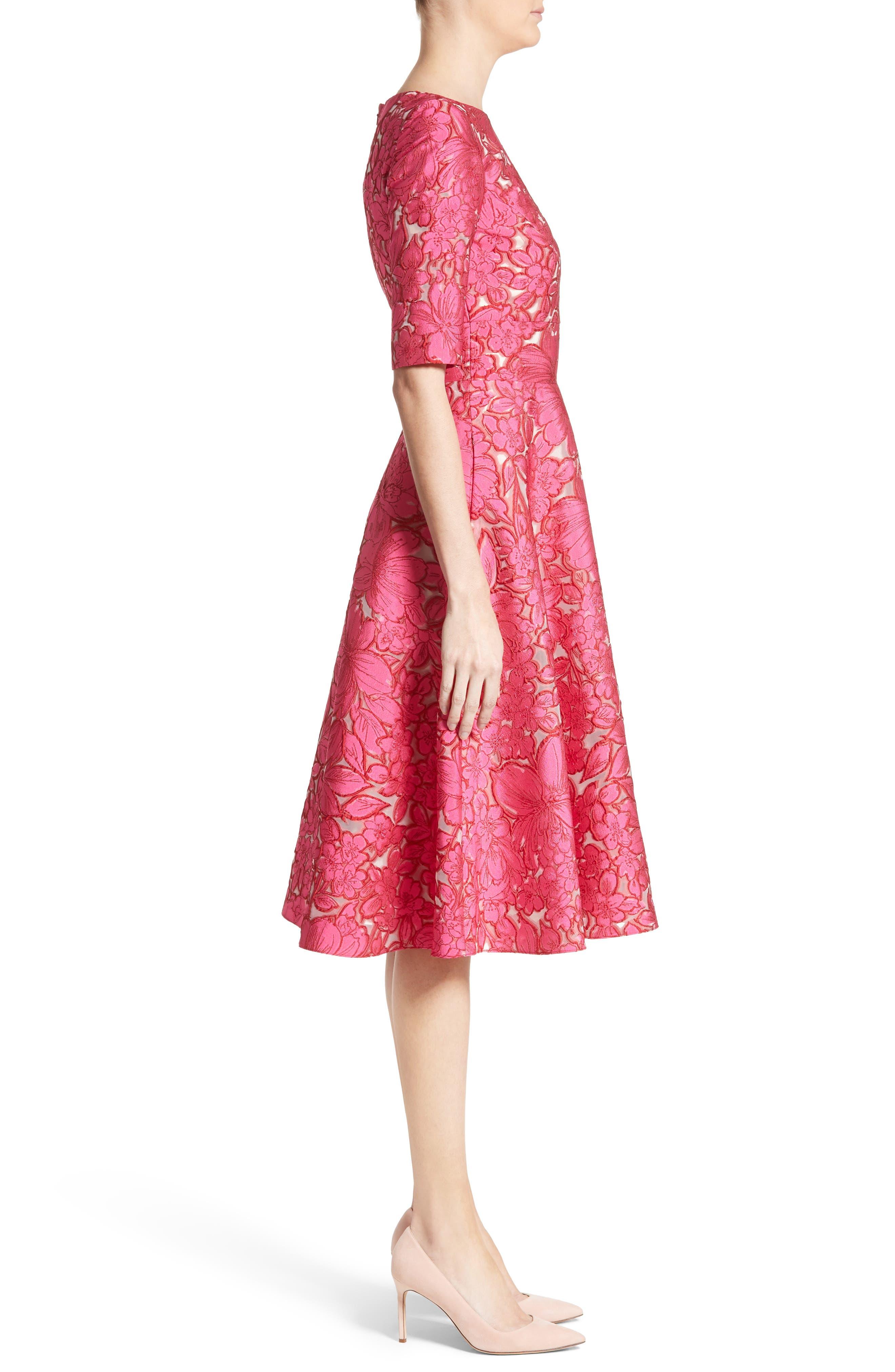 Floral Fil Coupé Fit & Flare Dress,                             Alternate thumbnail 3, color,                             659