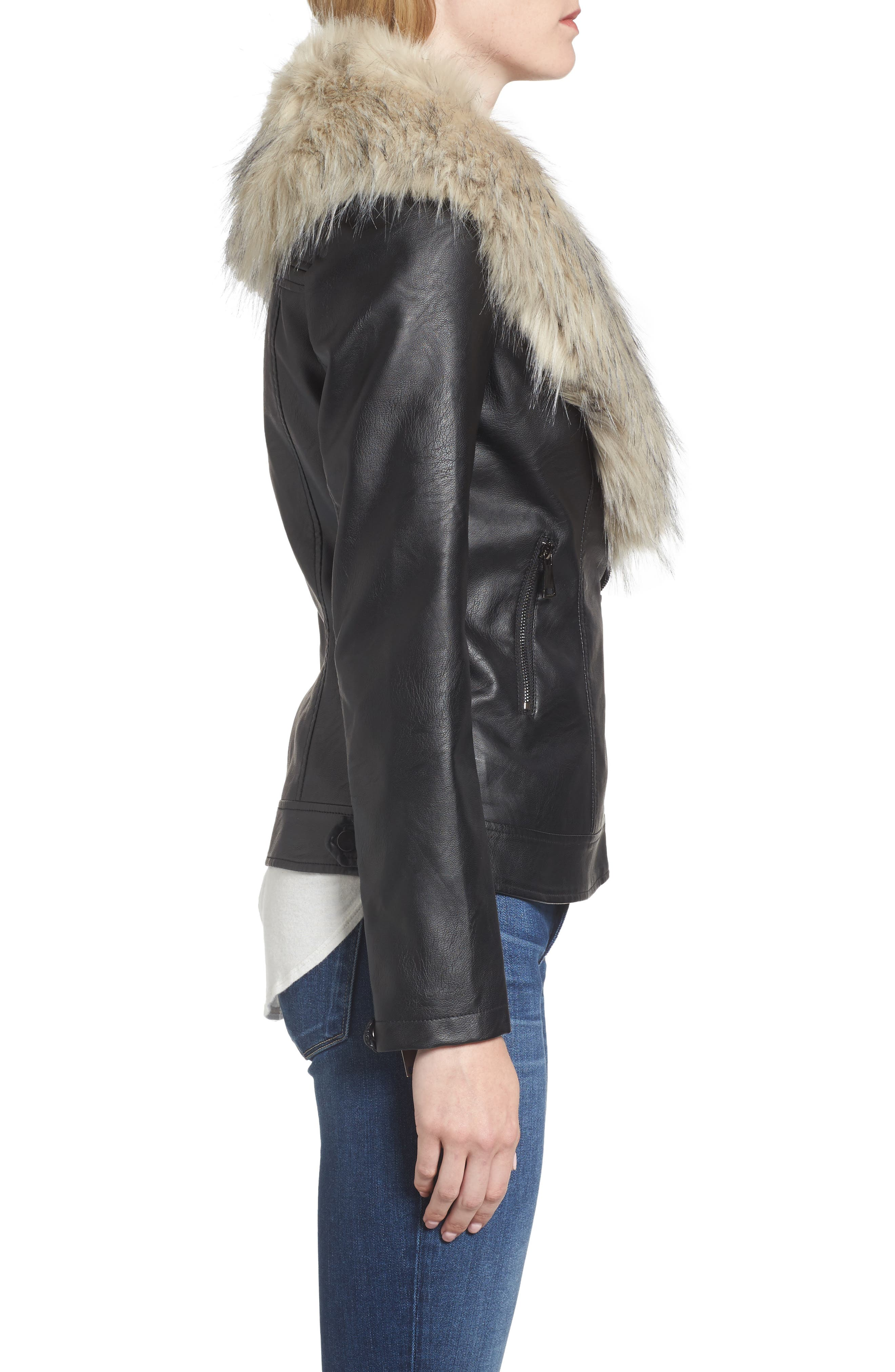 Faux Leather Jacket with Removable Faux Fur Collar,                             Alternate thumbnail 5, color,