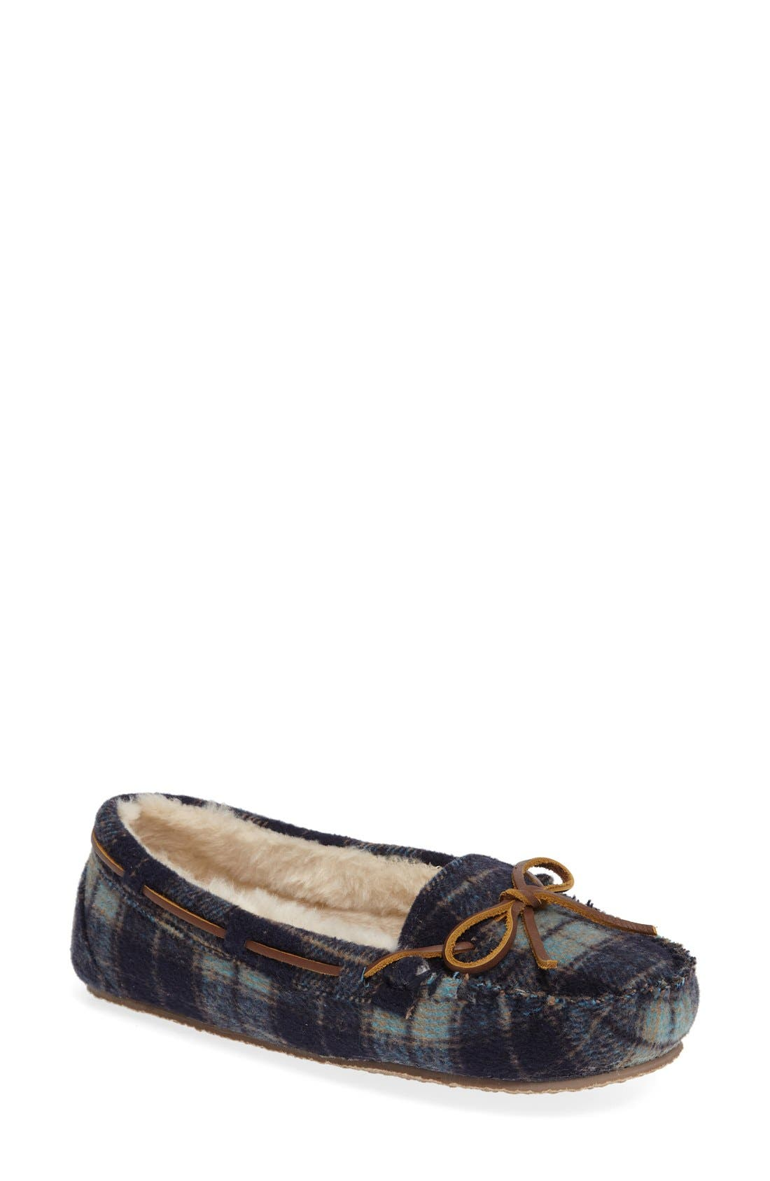 Cally Plaid Faux Fur Lined Slipper,                             Main thumbnail 1, color,                             NAVY