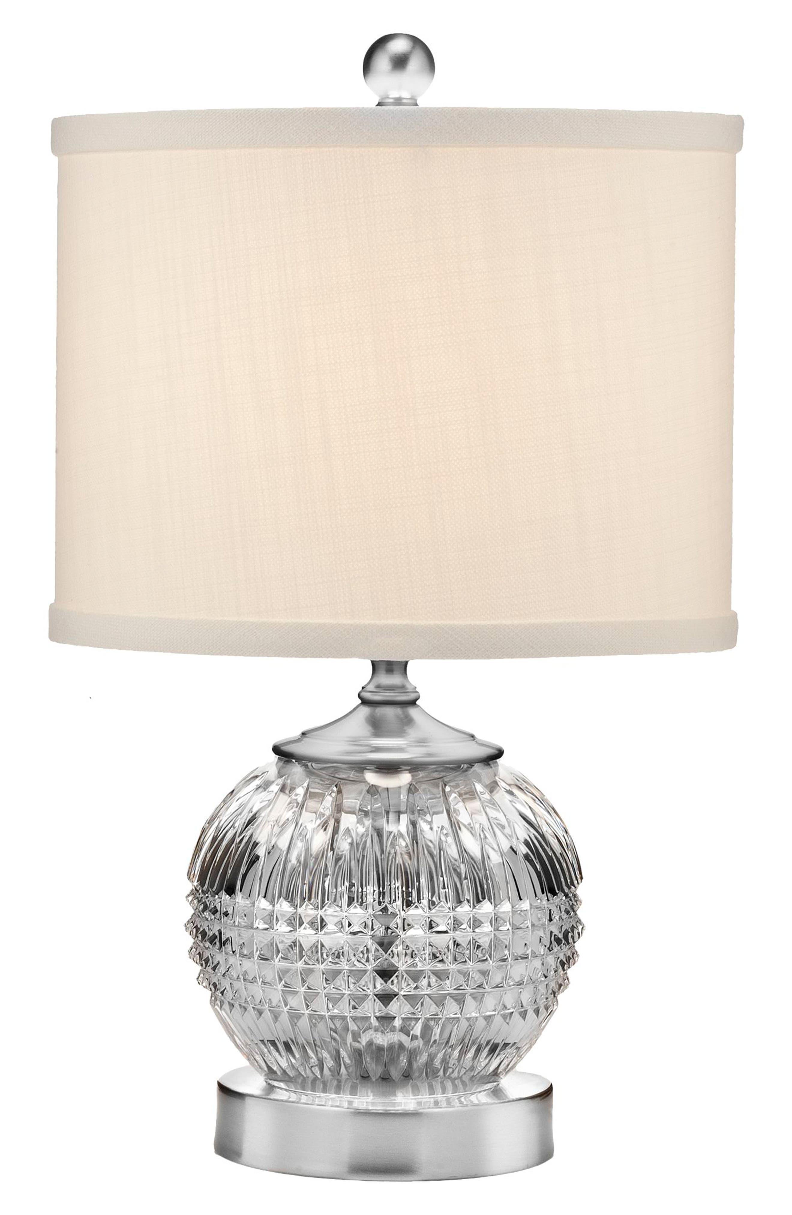 Lismore Diamond Mini Lead Crystal & Chrome Table Lamp,                             Main thumbnail 1, color,                             100