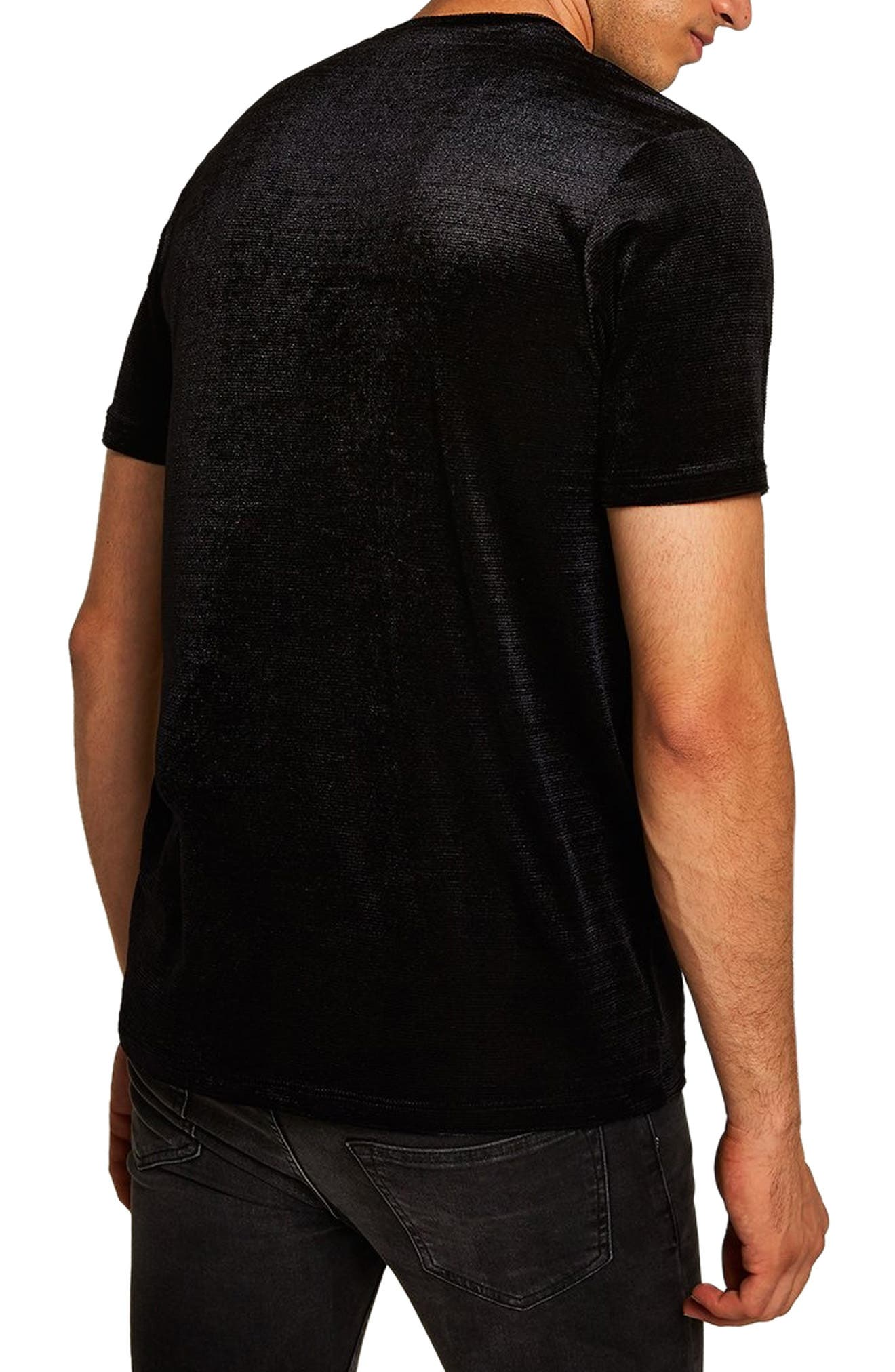 Topshop Velour Classic Fit T-Shirt,                             Alternate thumbnail 2, color,                             BLACK