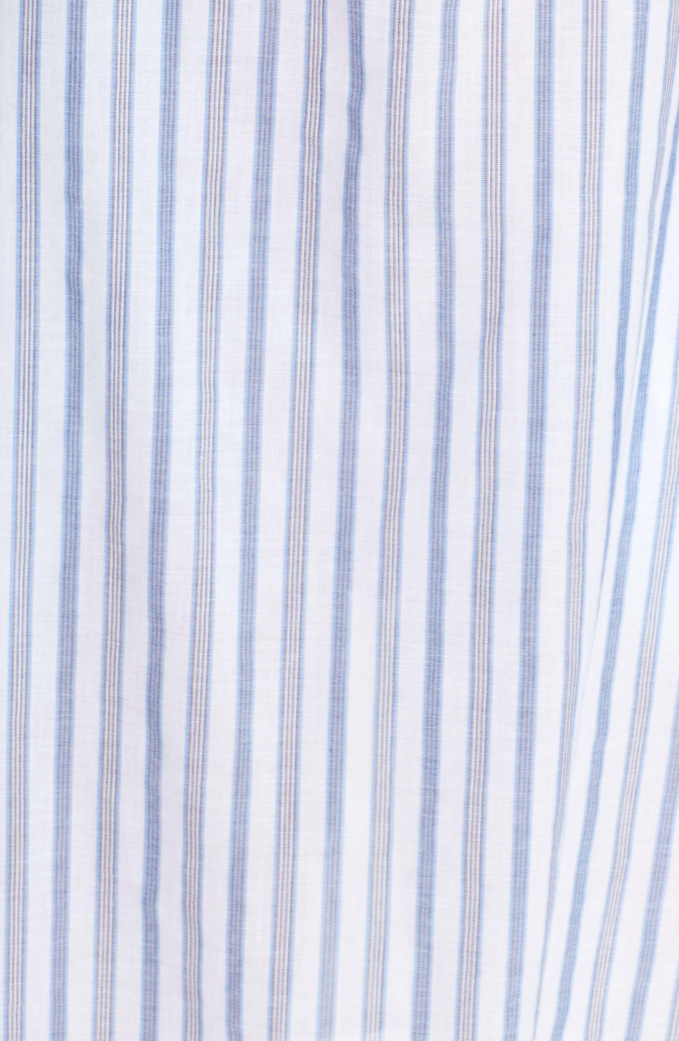 Ticking Stripe Off the Shoulder Cover-Up Dress,                             Alternate thumbnail 5, color,                             100