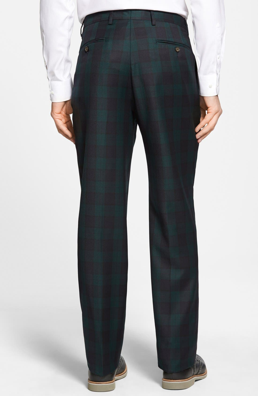 Flat Front Plaid Wool Trousers,                             Alternate thumbnail 3, color,                             GREEN