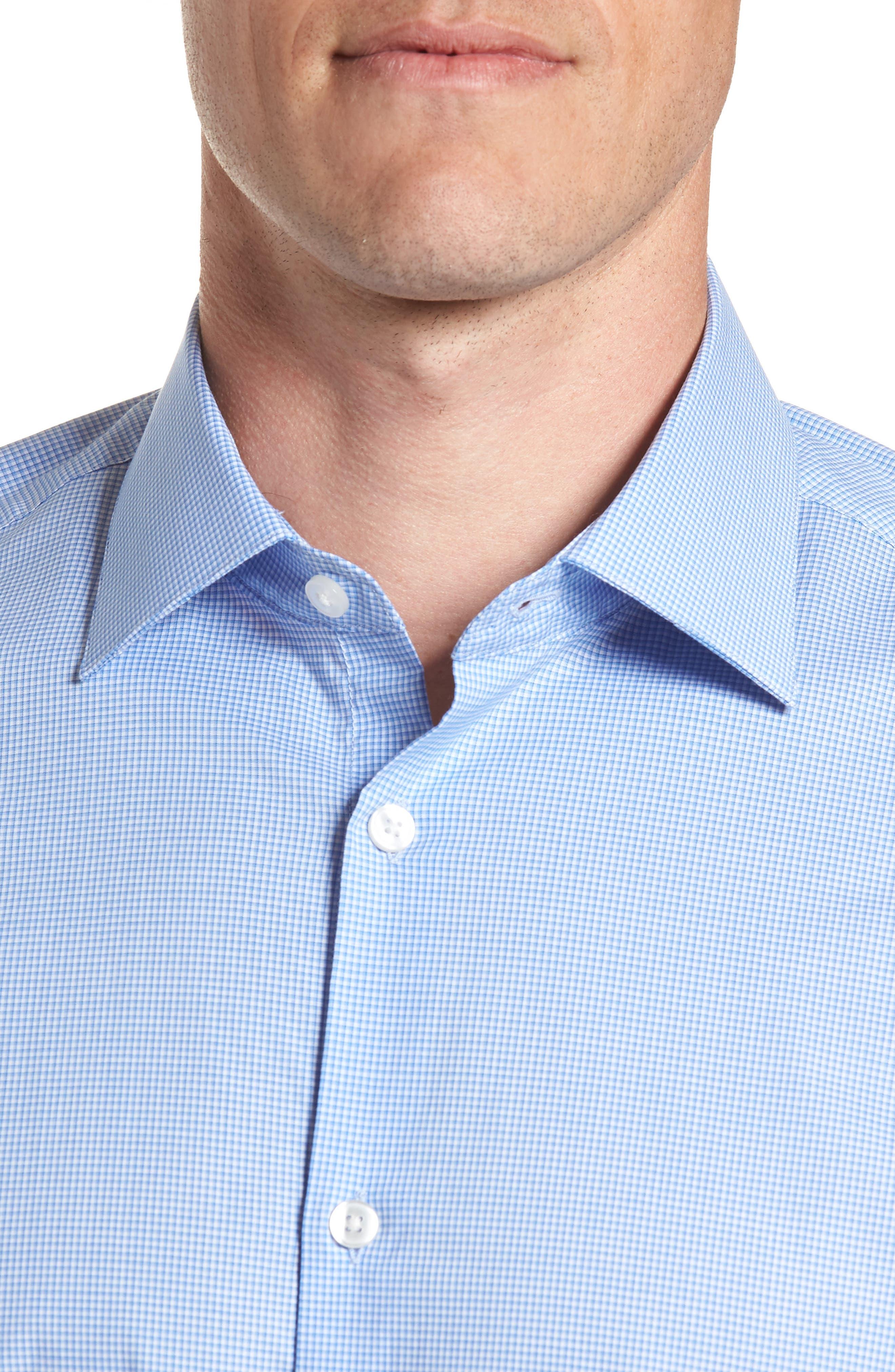 Microcheck Regular Fit Dress Shirt,                             Alternate thumbnail 2, color,                             OCEAN BLUE