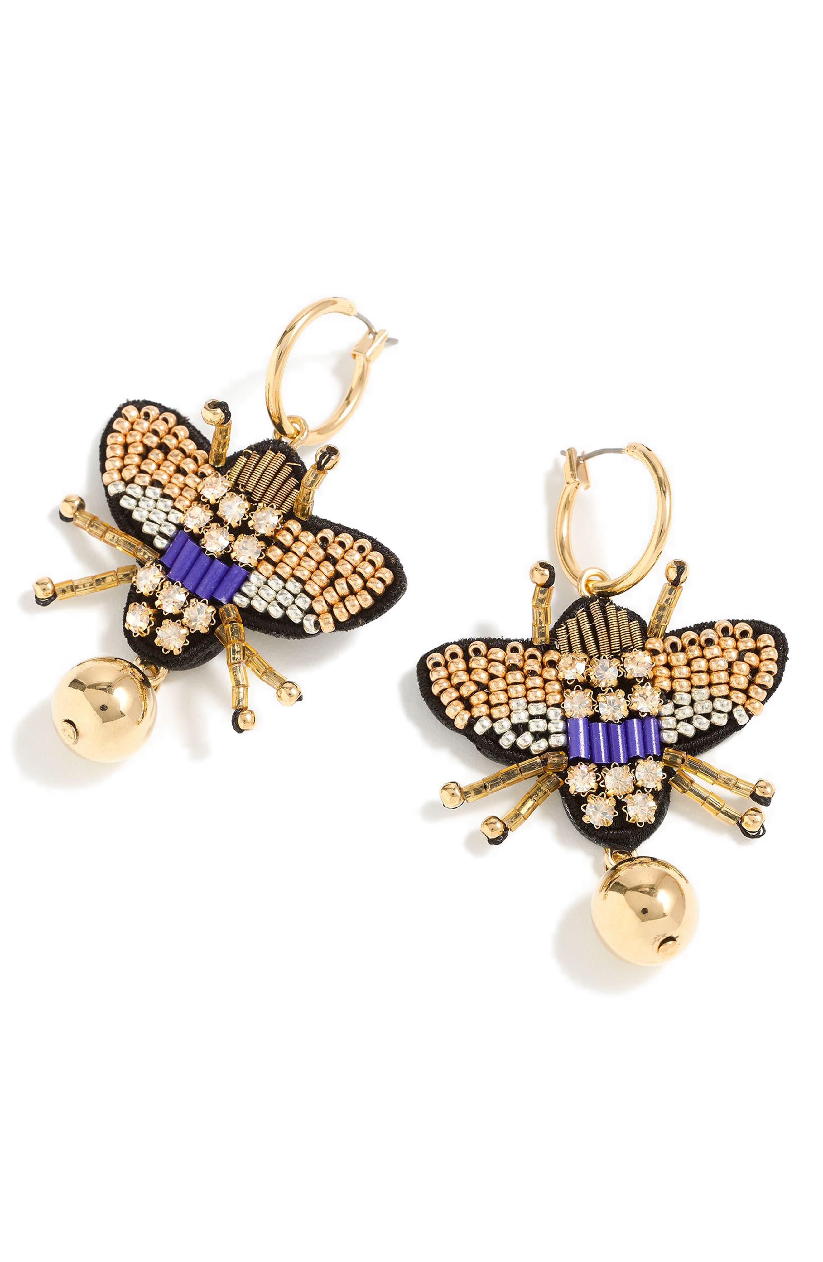 Leather Back Beaded Beetle Earrings,                             Main thumbnail 1, color,                             GOLD