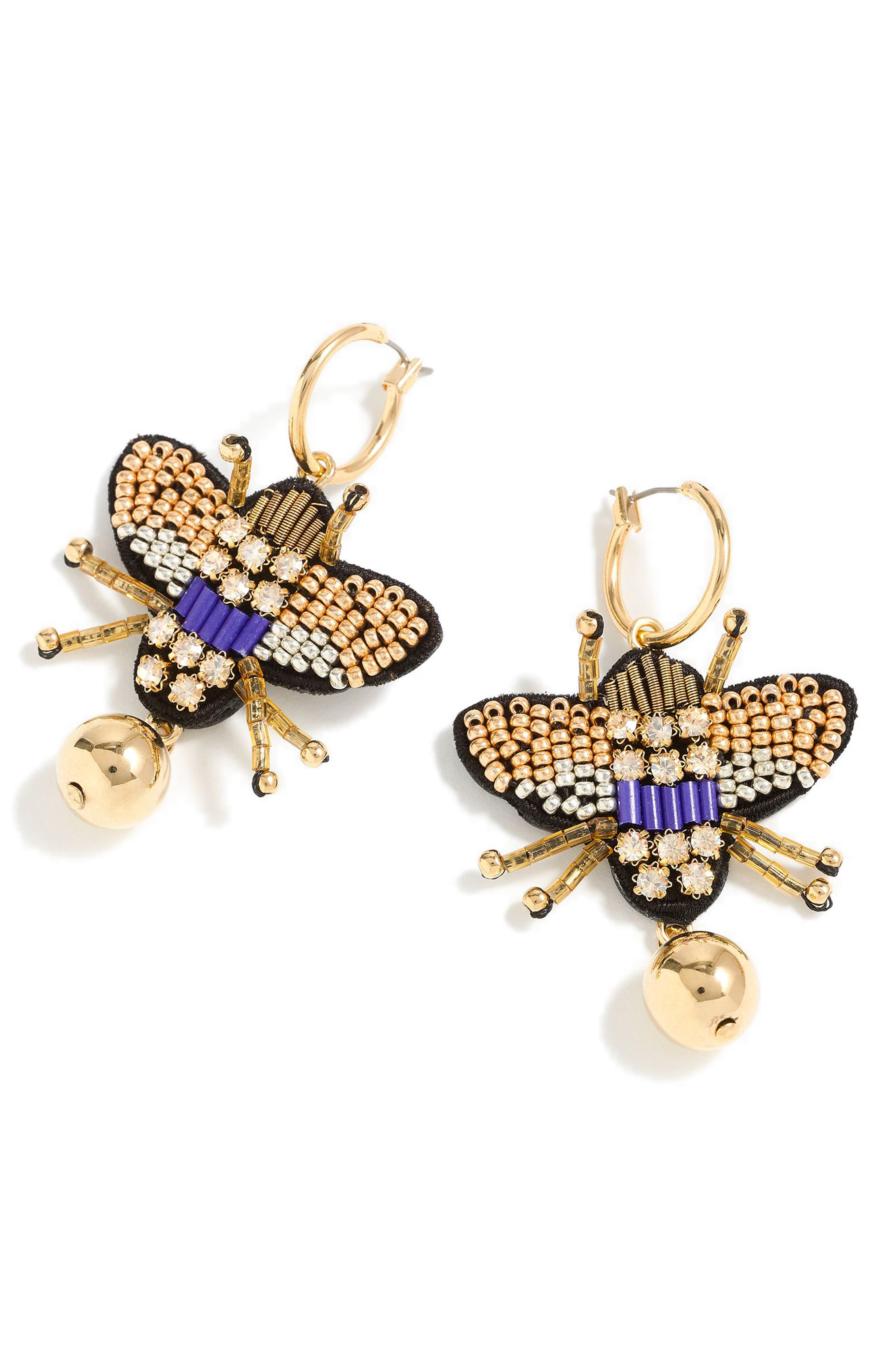 Leather Back Beaded Beetle Earrings,                         Main,                         color, GOLD