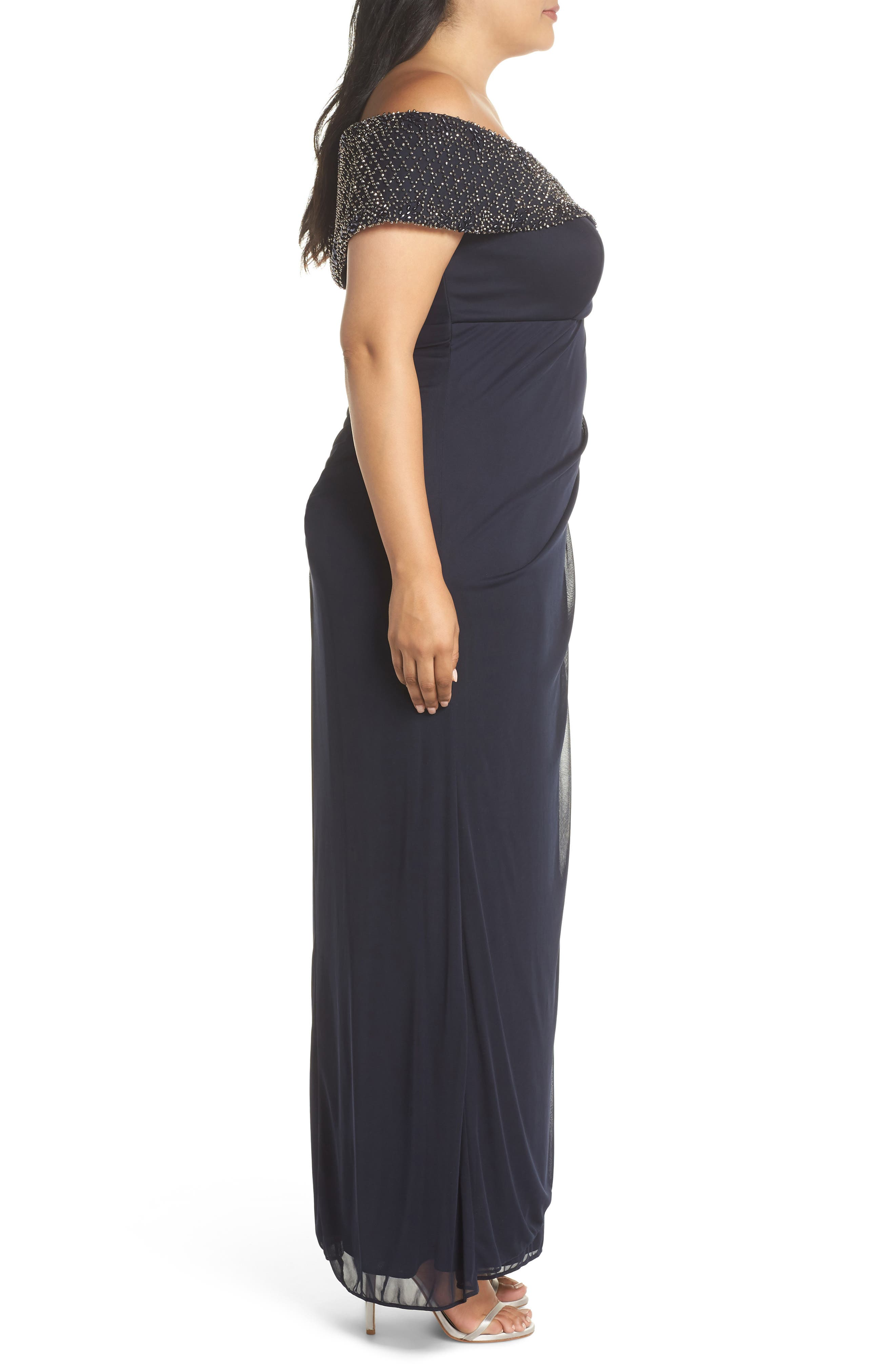 Beaded Off the Shoulder Gown,                             Alternate thumbnail 3, color,                             NAVY/ GUNMETAL