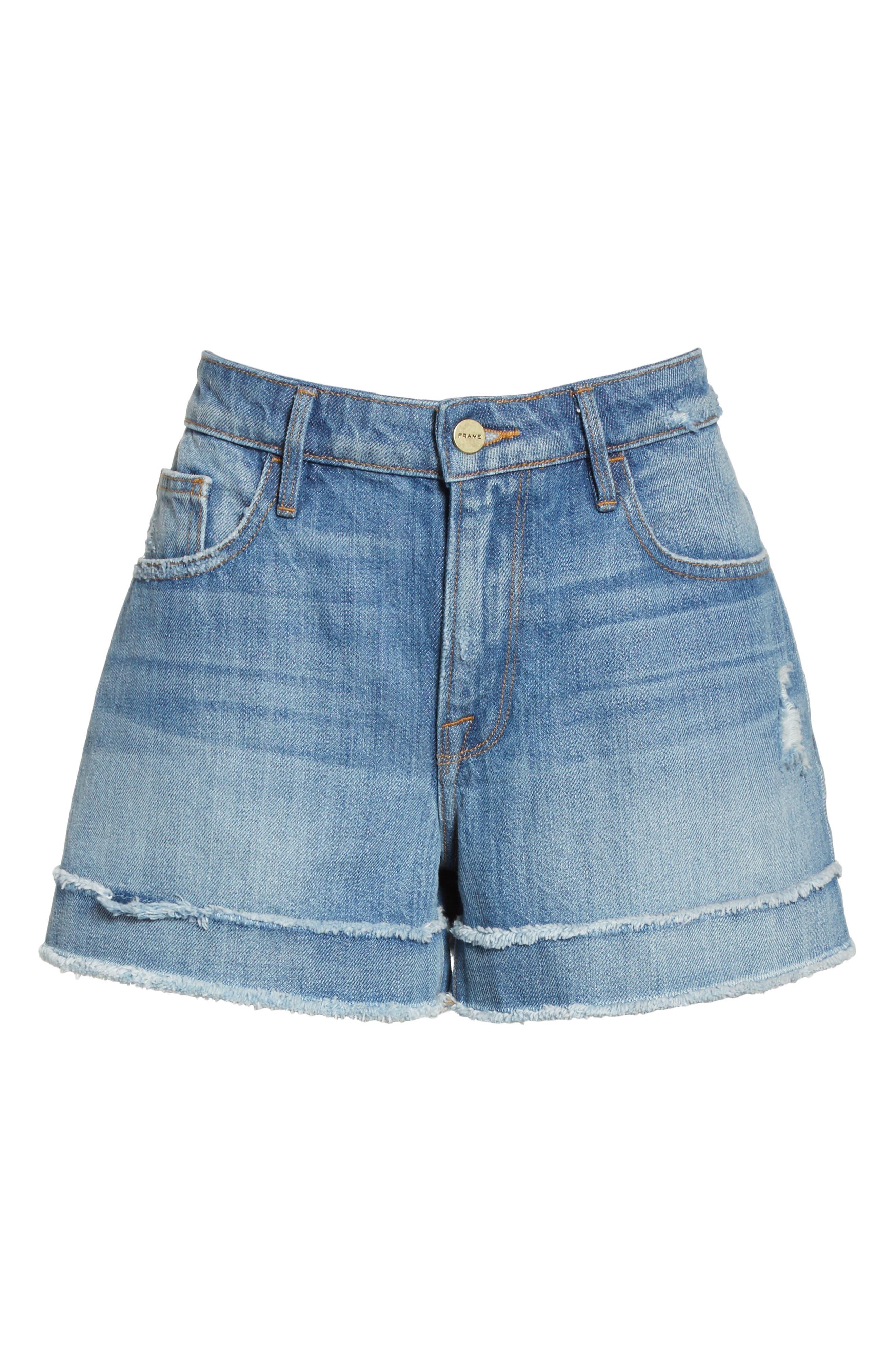 Le Grand Garçon Fray Cuff Denim Shorts,                             Alternate thumbnail 6, color,                             420