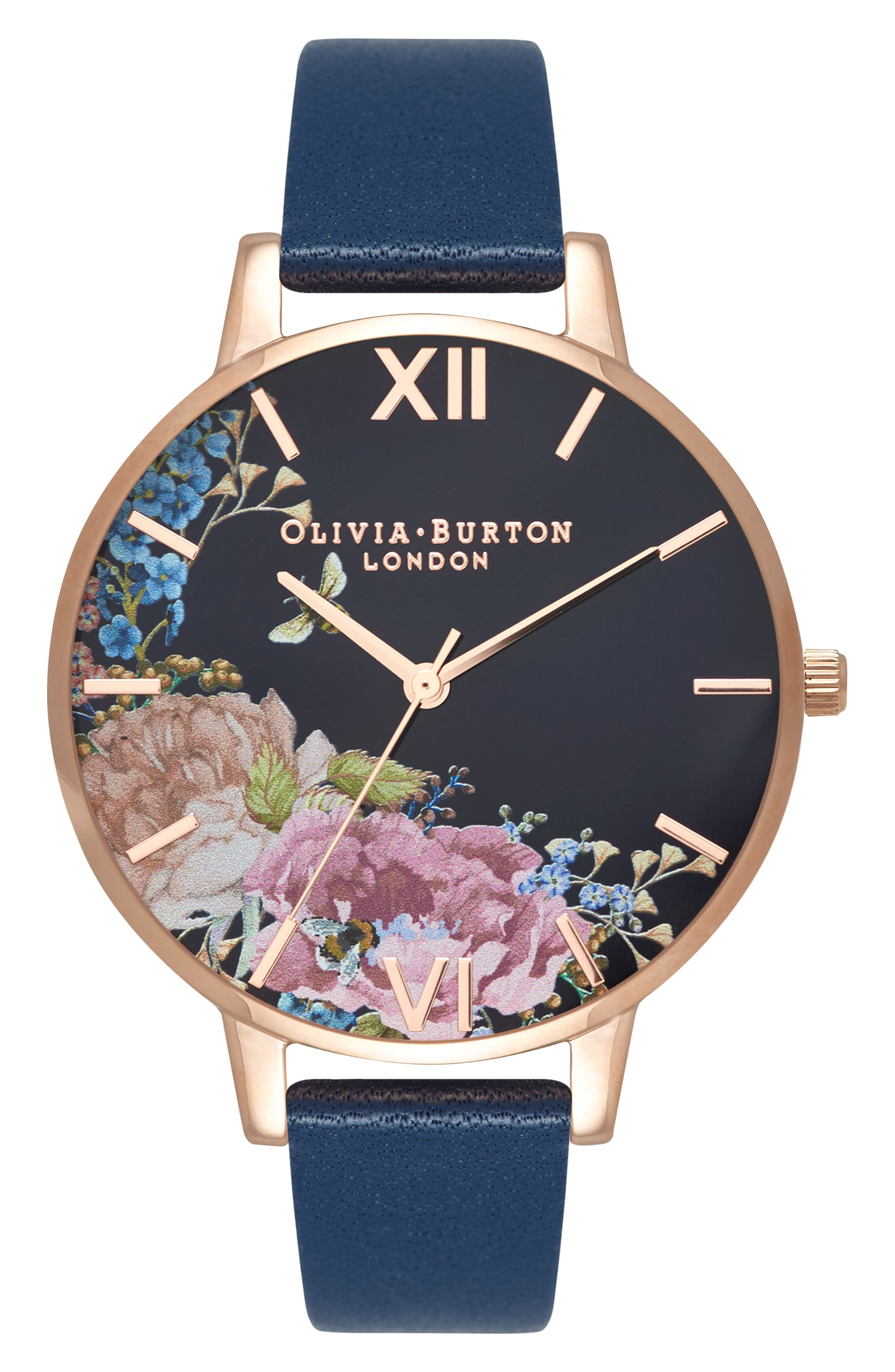 Enchanted Garden Leather Strap Watch, 38mm,                         Main,                         color, NAVY/ FLORAL/ ROSE GOLD