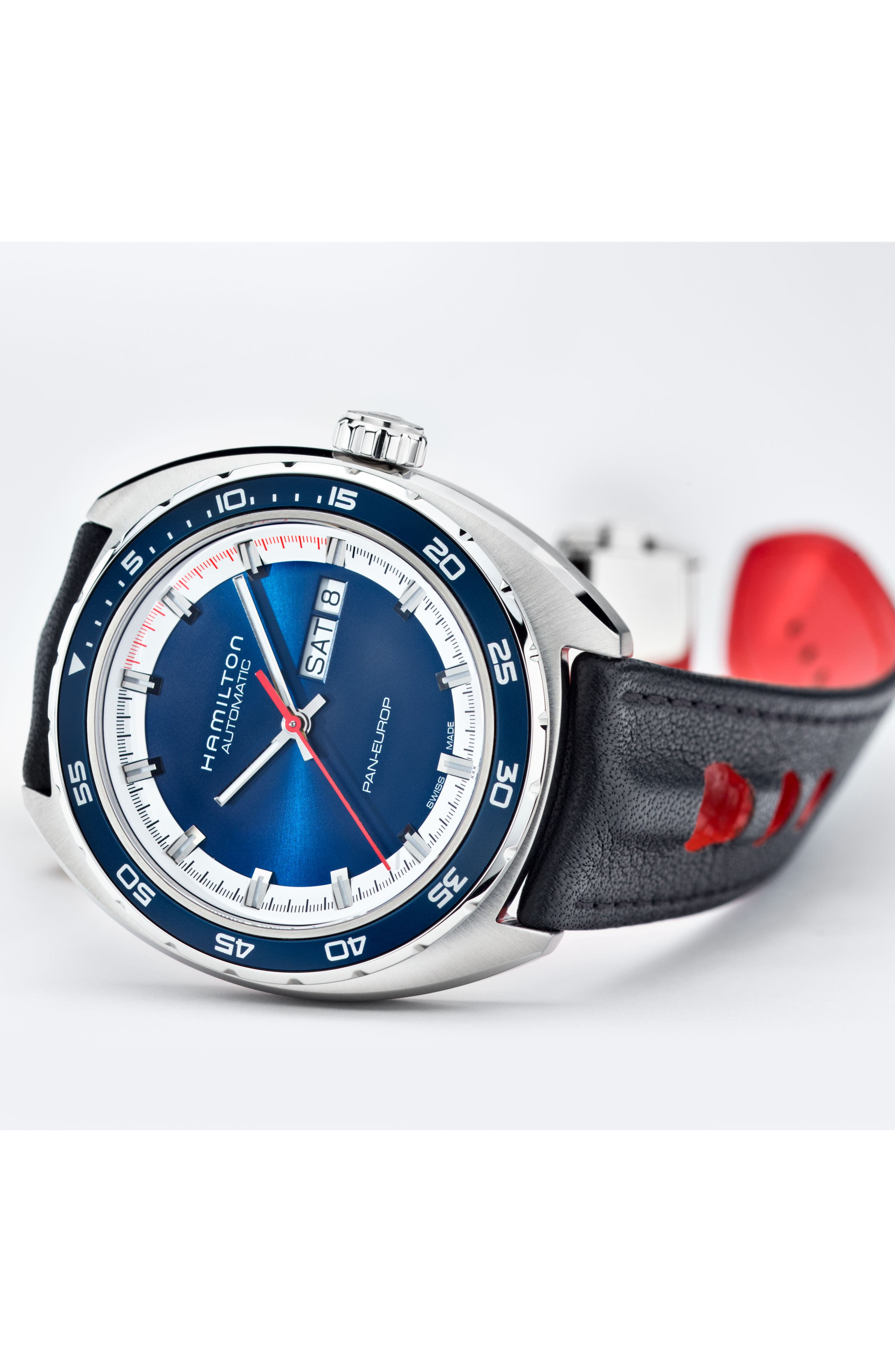 American Classic Pan Europ Automatic Leather Strap Watch; 42mm,                             Alternate thumbnail 4, color,                             BLACK/ BLUE/ SILVER