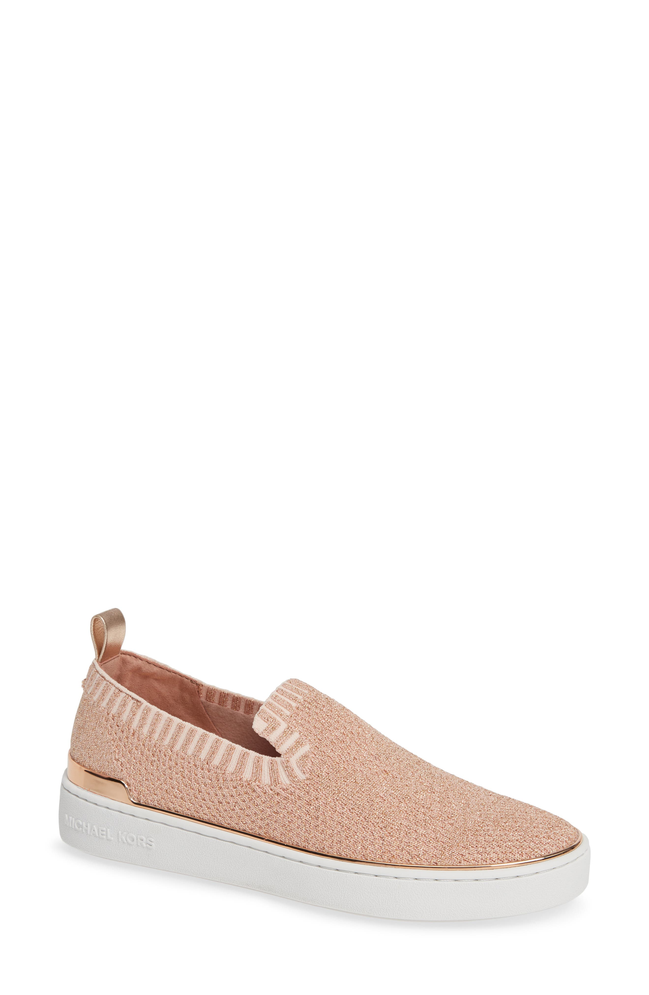 Skyler Slip-On Sneakers in Rose Gold Fabric