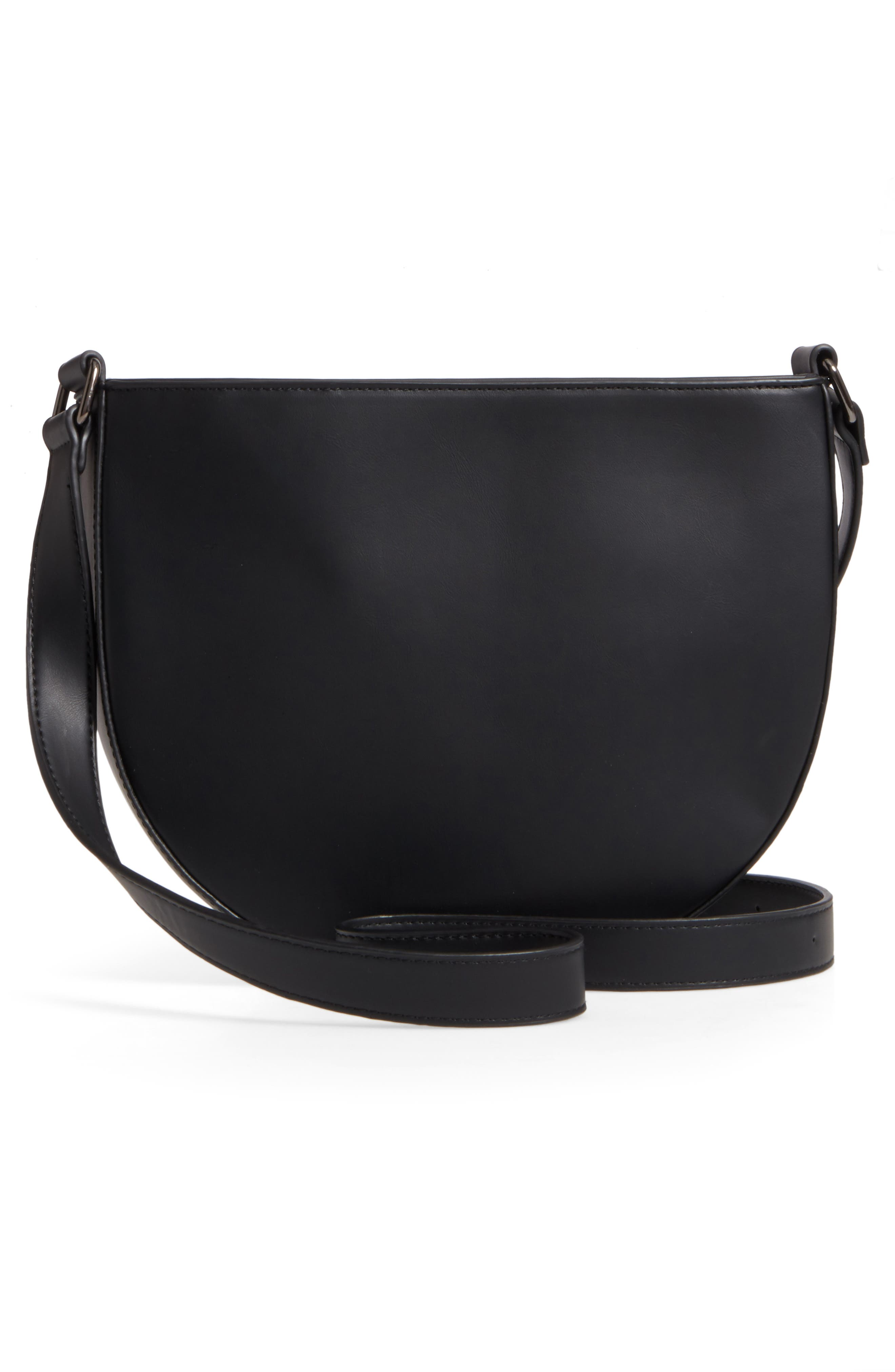 Half Moon Faux Leather Crossbody Bag,                             Alternate thumbnail 3, color,                             001