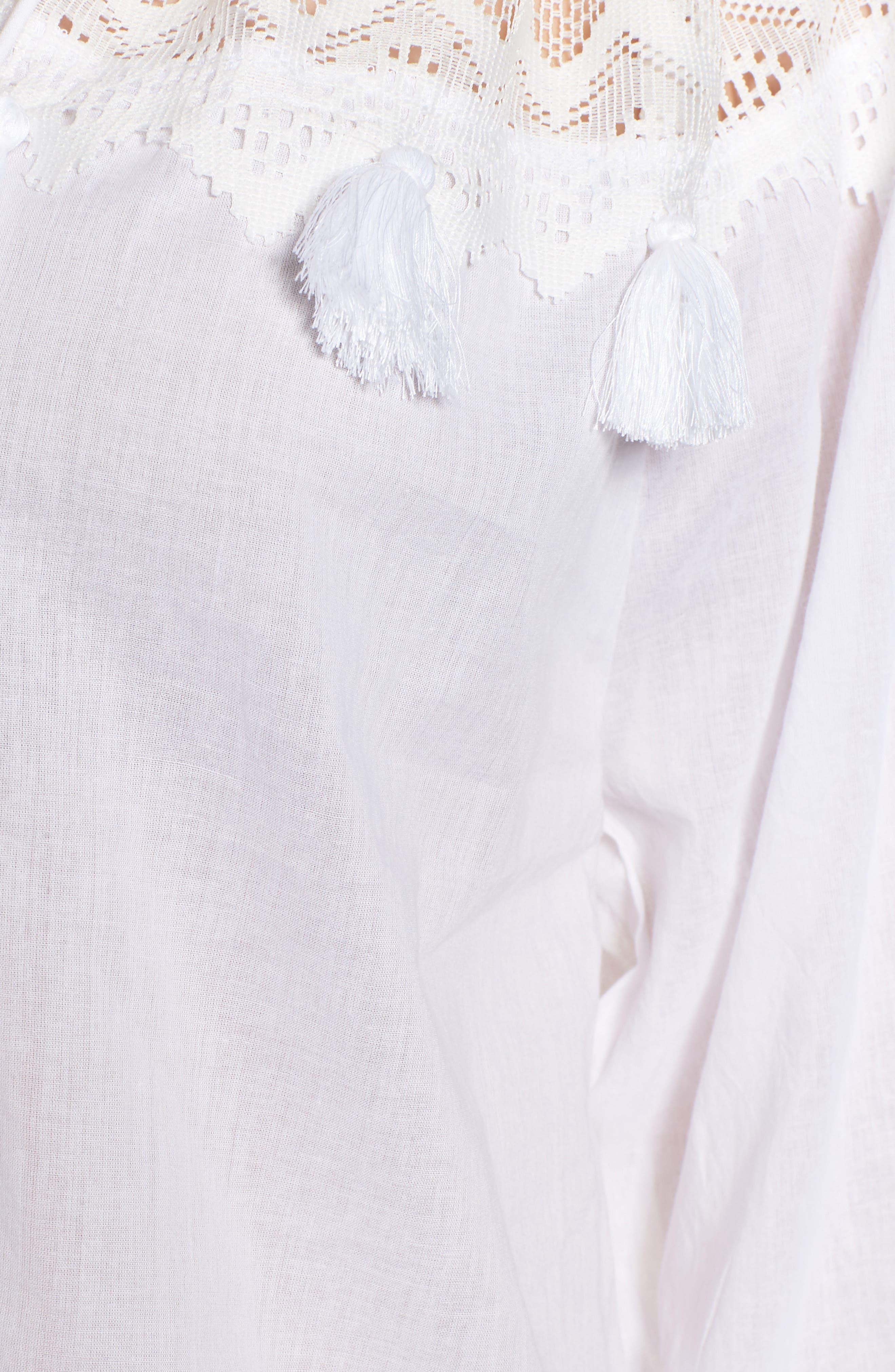 Berkley White Lace Cotton Blend Top,                             Alternate thumbnail 6, color,                             WHITE