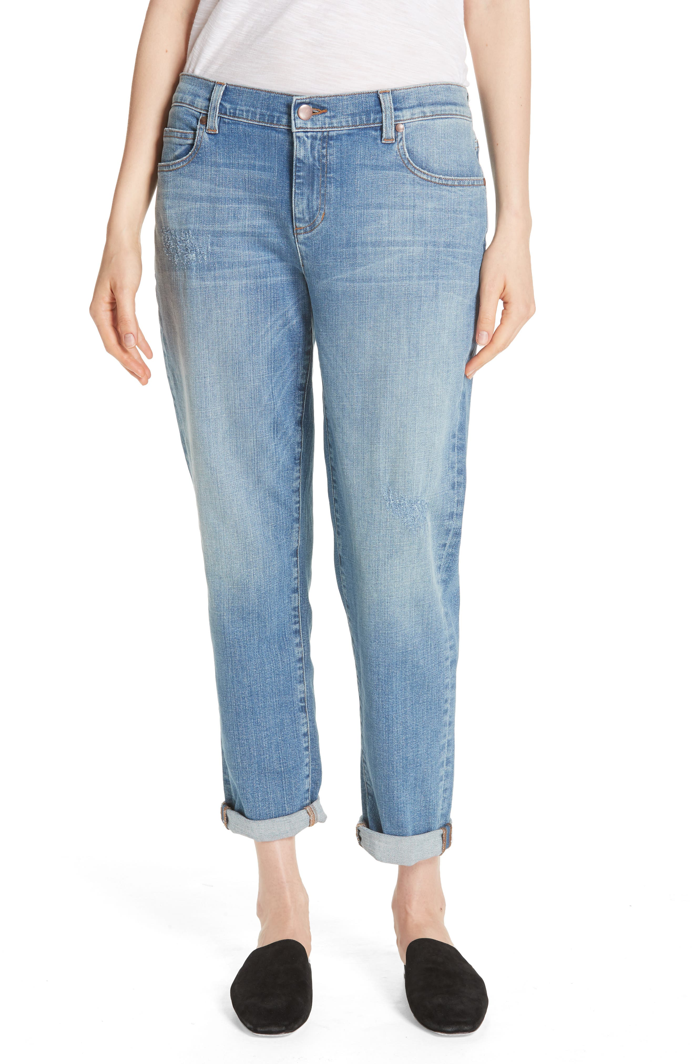 Stretch Organic Cotton Boyfriend Jeans,                             Main thumbnail 1, color,                             ABRADED SKY BLUE
