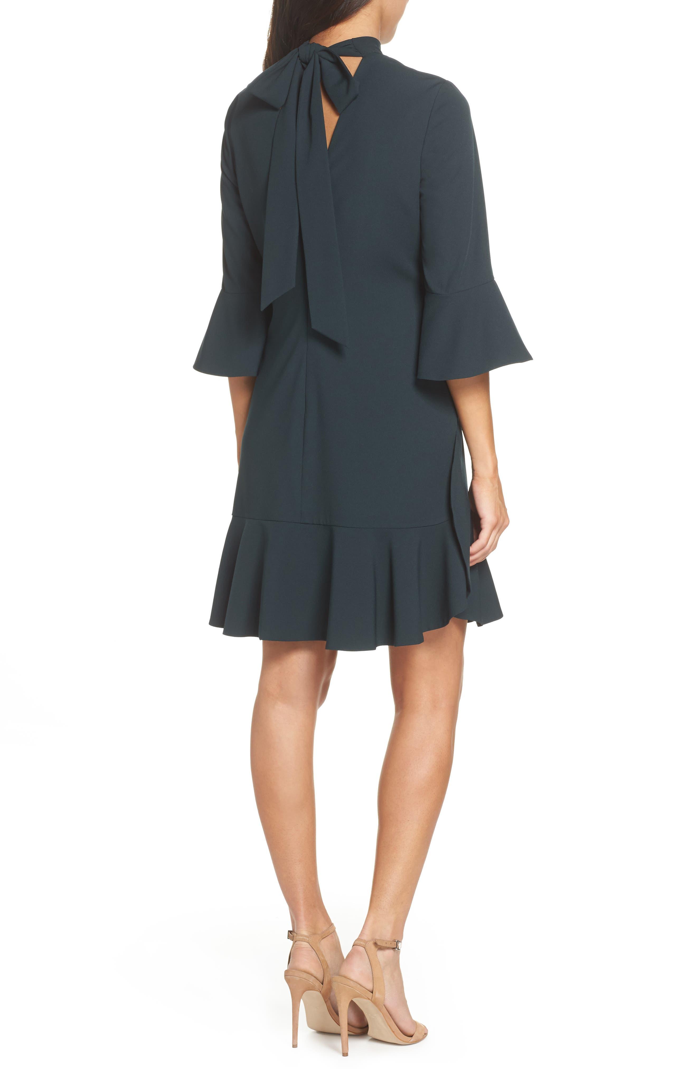 Bell Sleeve Dress,                             Alternate thumbnail 2, color,                             GREEN BUG
