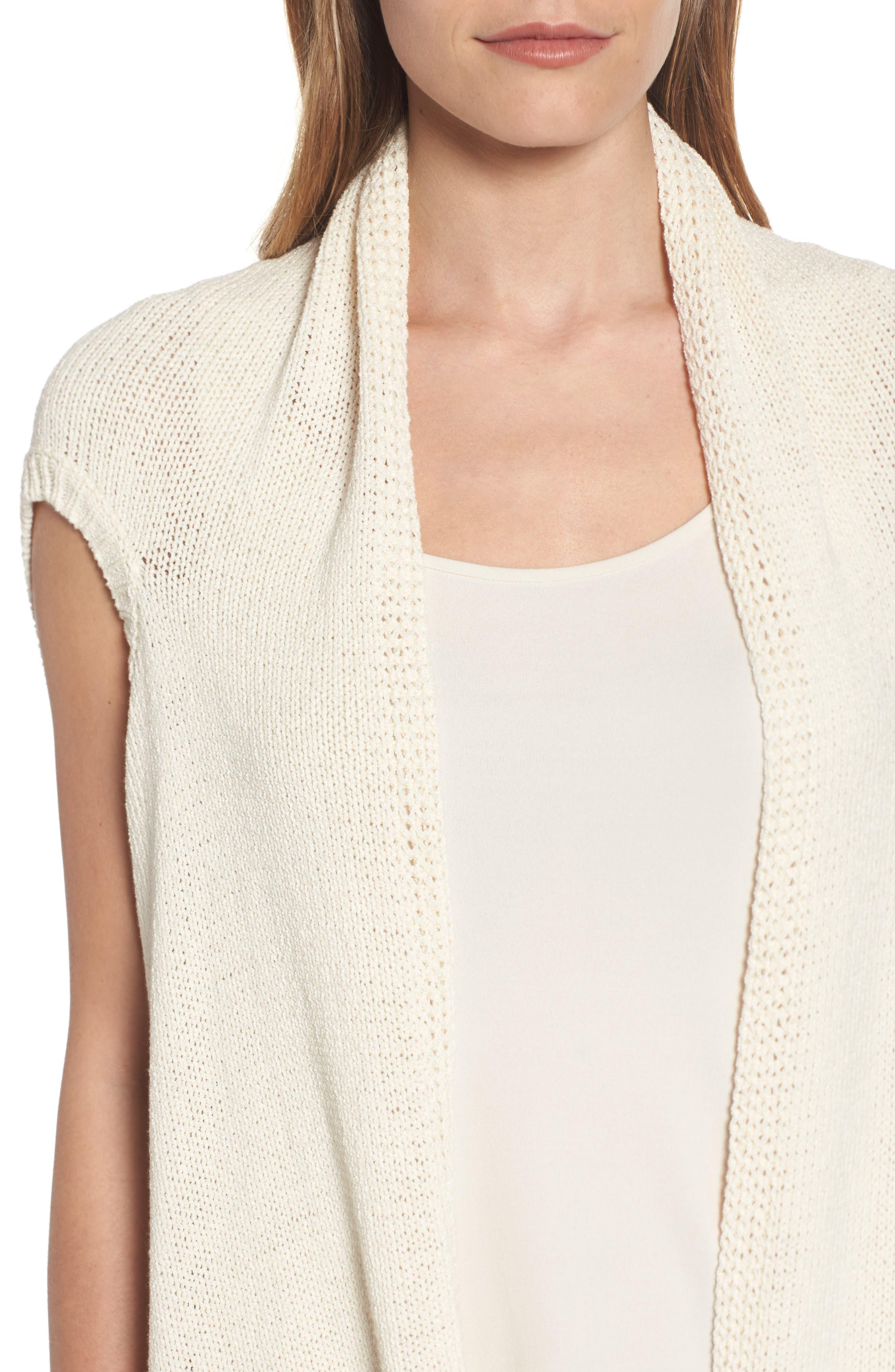 Cotton Blend Knit Asymmetrical Wrap,                             Alternate thumbnail 4, color,                             103