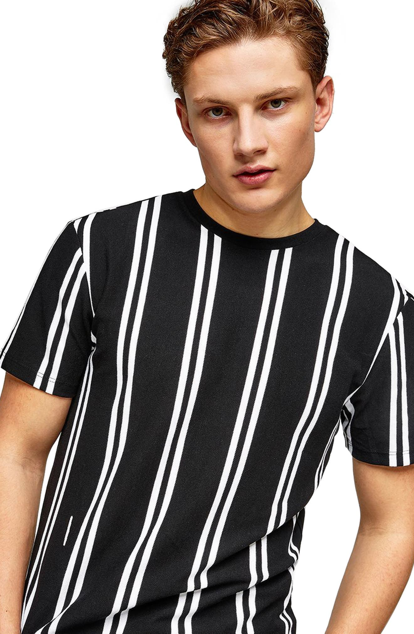 Stripe Piqué T-Shirt,                             Main thumbnail 1, color,                             001