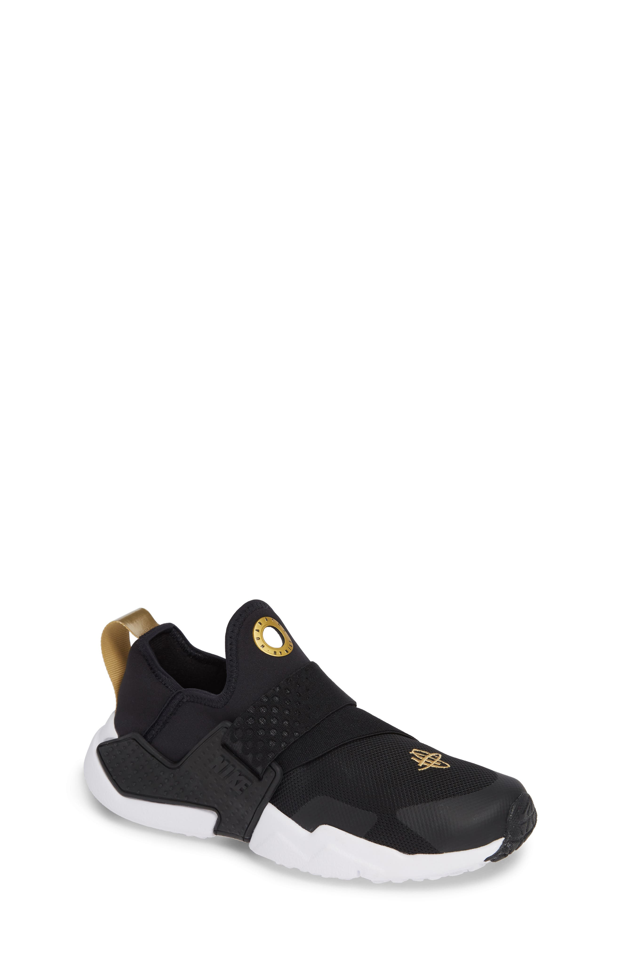 Huarache Extreme Sneaker,                             Main thumbnail 1, color,                             BLACK/ METALLIC GOLD/ WHITE