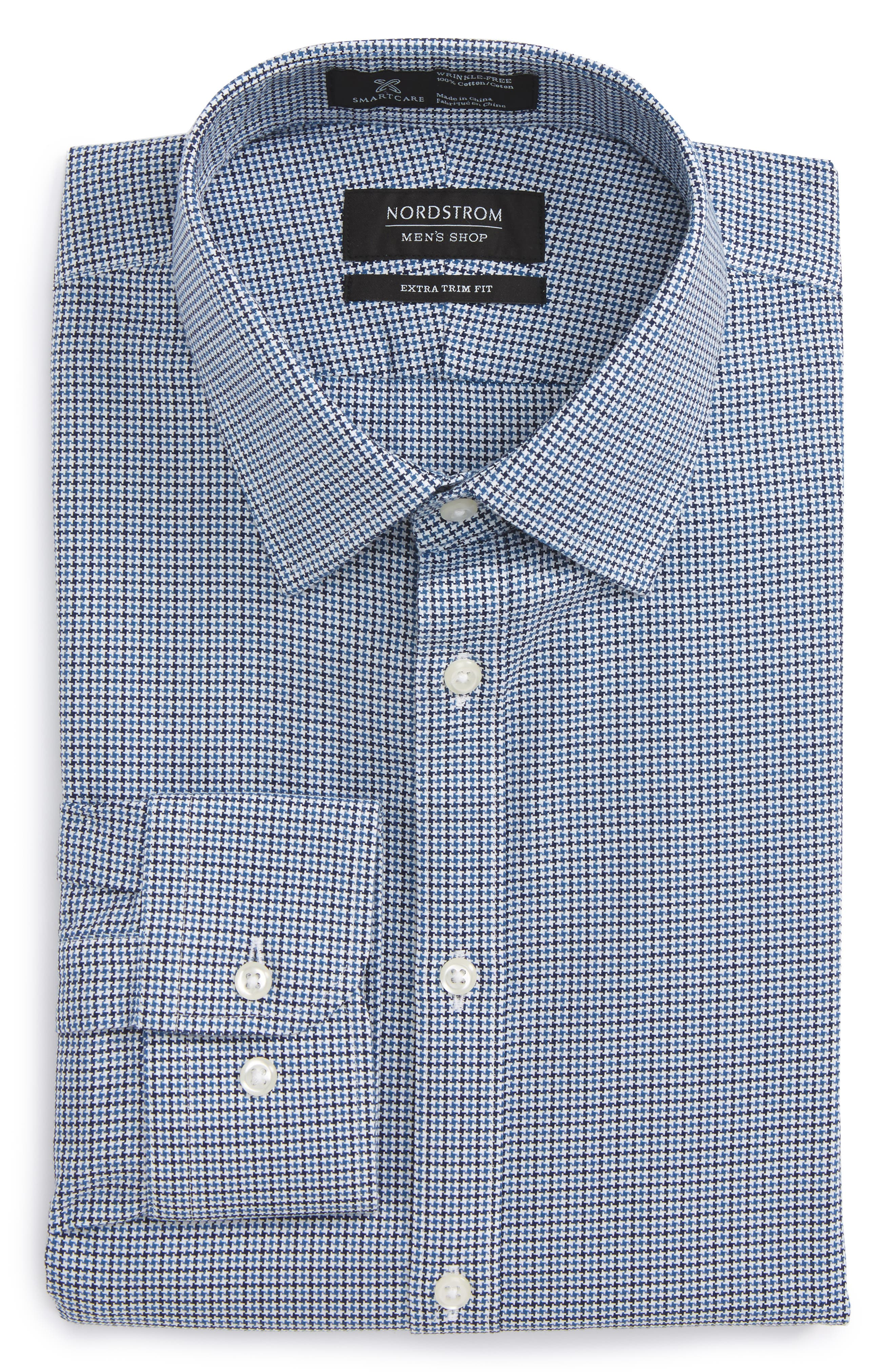 Smartcare<sup>™</sup> Extra Trim Fit Houndstooth Dress Shirt,                             Alternate thumbnail 5, color,                             410