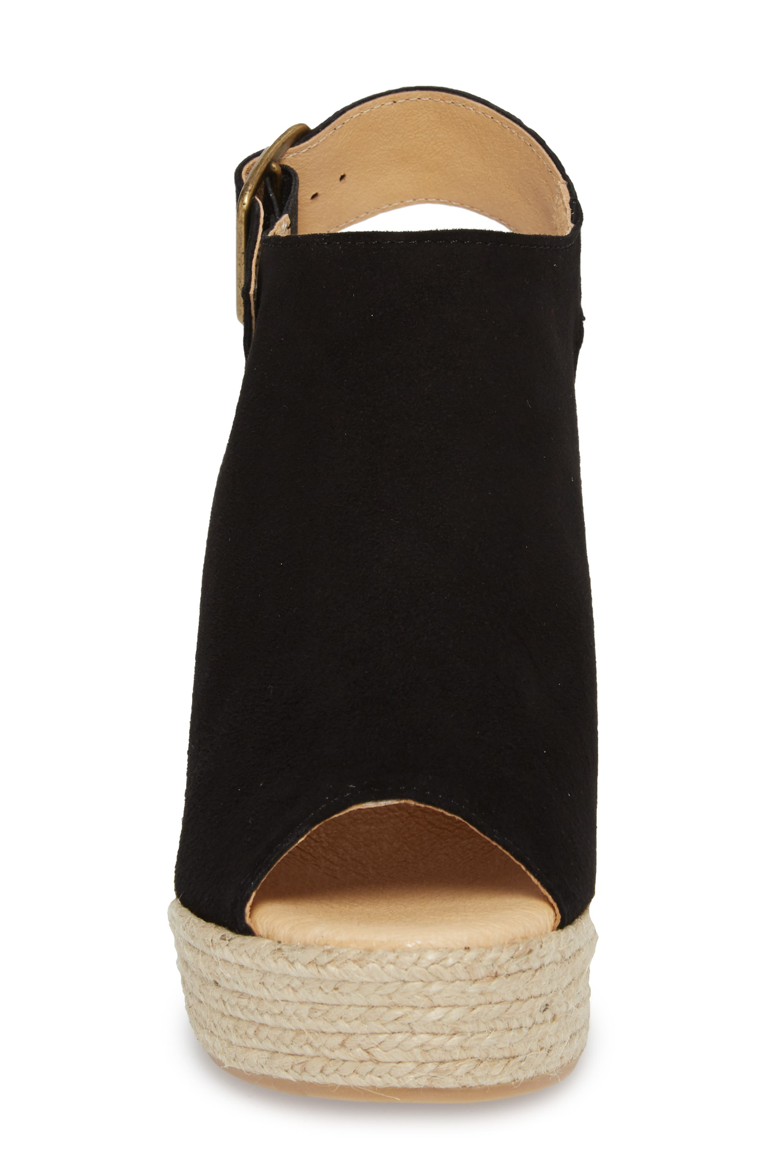 Elisse Epadrille Wedge Sandal,                             Alternate thumbnail 4, color,                             BLACK SUEDE