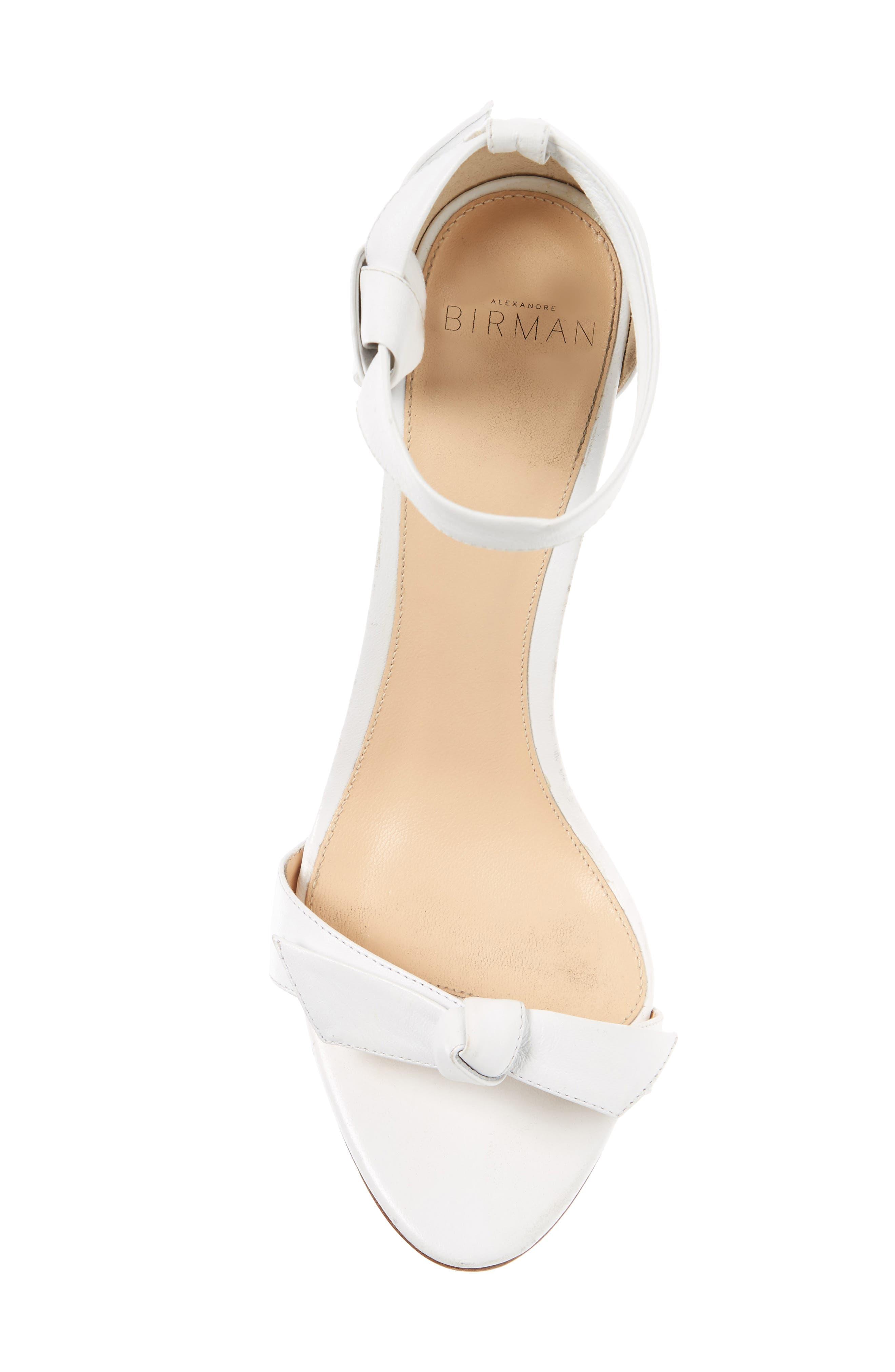 'Clarita' Ankle Tie Sandal,                             Alternate thumbnail 5, color,                             WHITE LEATHER