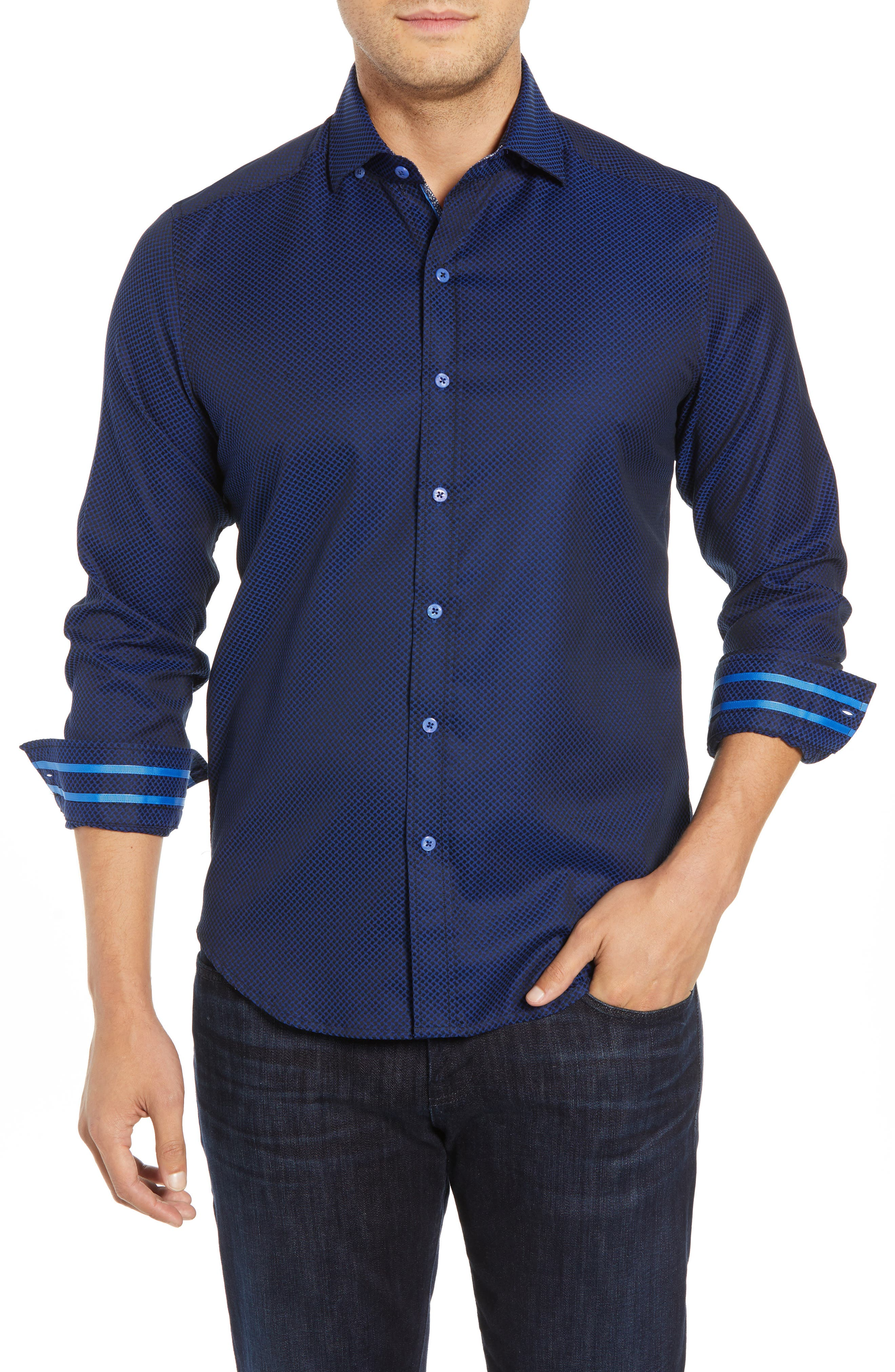 Anson Tailored Fit Jacquard Sport Shirt,                             Main thumbnail 1, color,                             NAVY