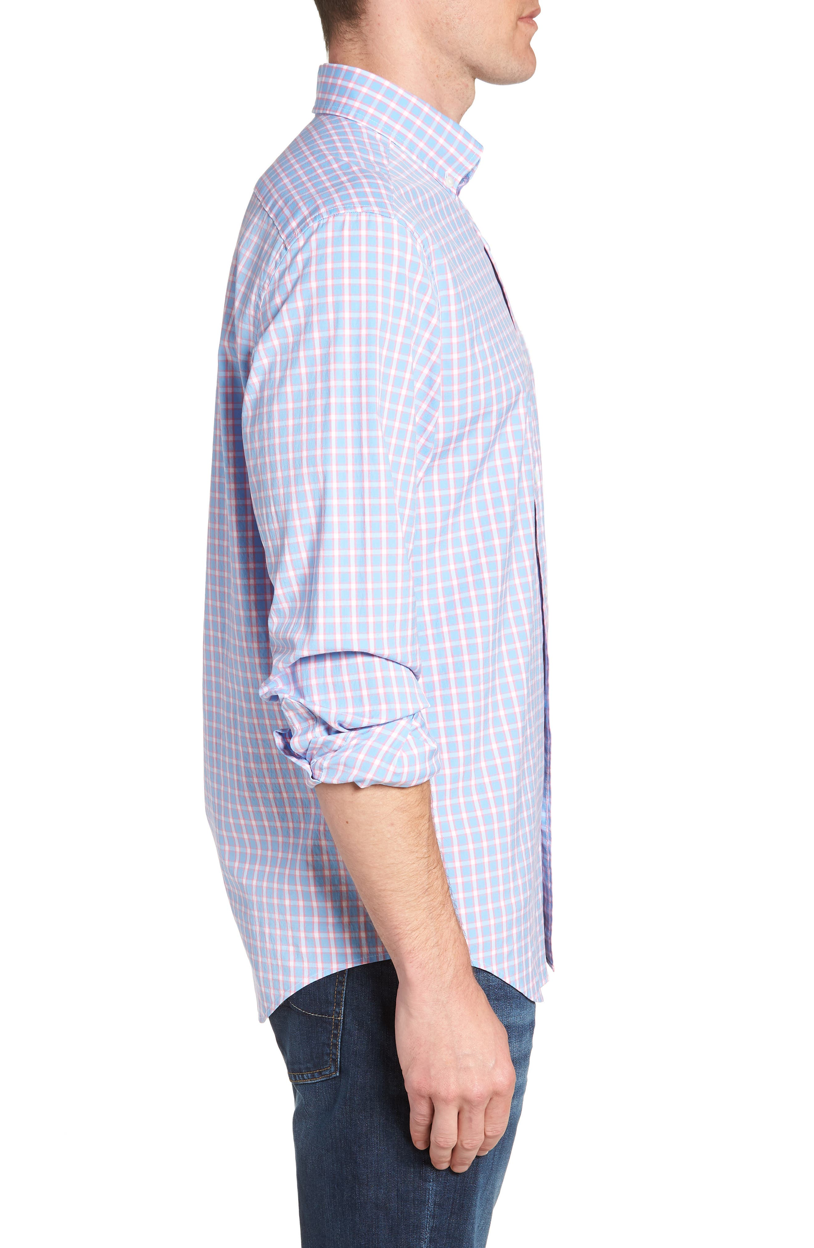Harlock Pond Plaid Classic Fit Sport Shirt,                             Alternate thumbnail 3, color,                             OCEAN BREEZE
