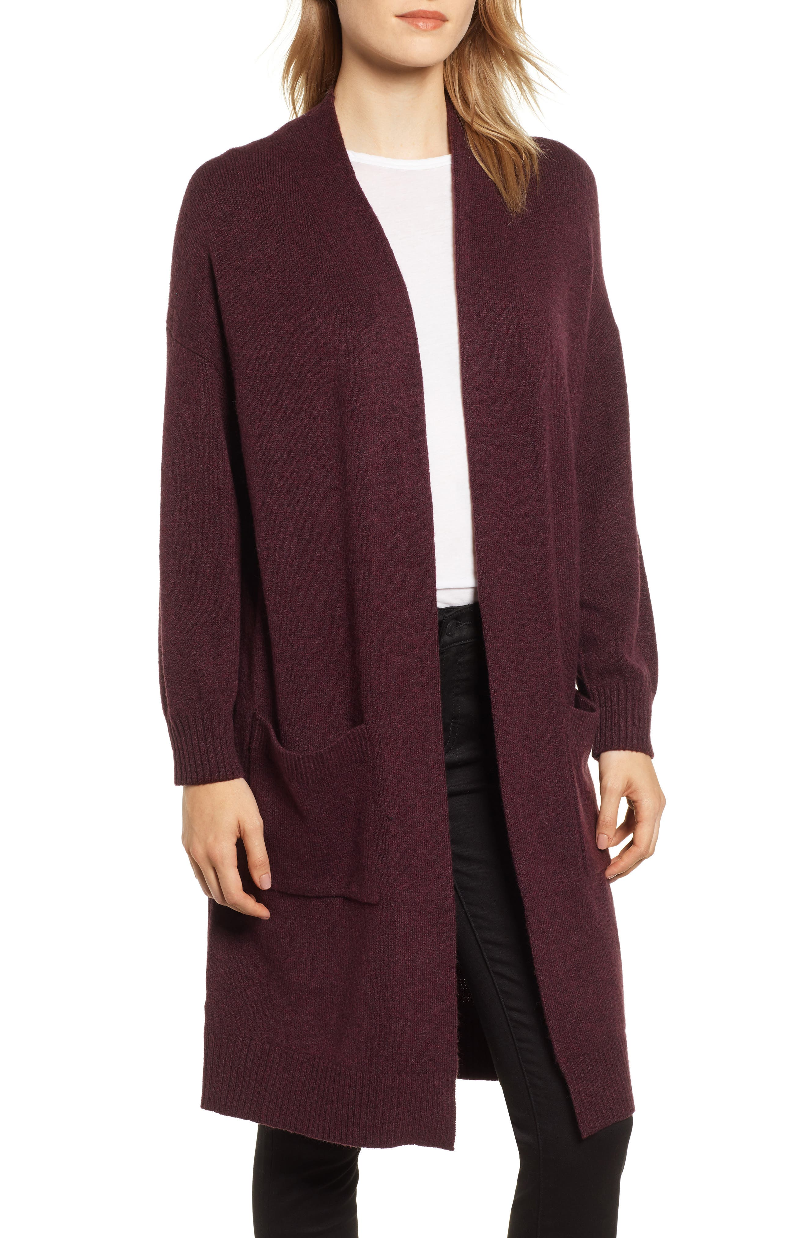 Pocket Sweater Coat, Main, color, BURGUNDY TO MATCH DRESS