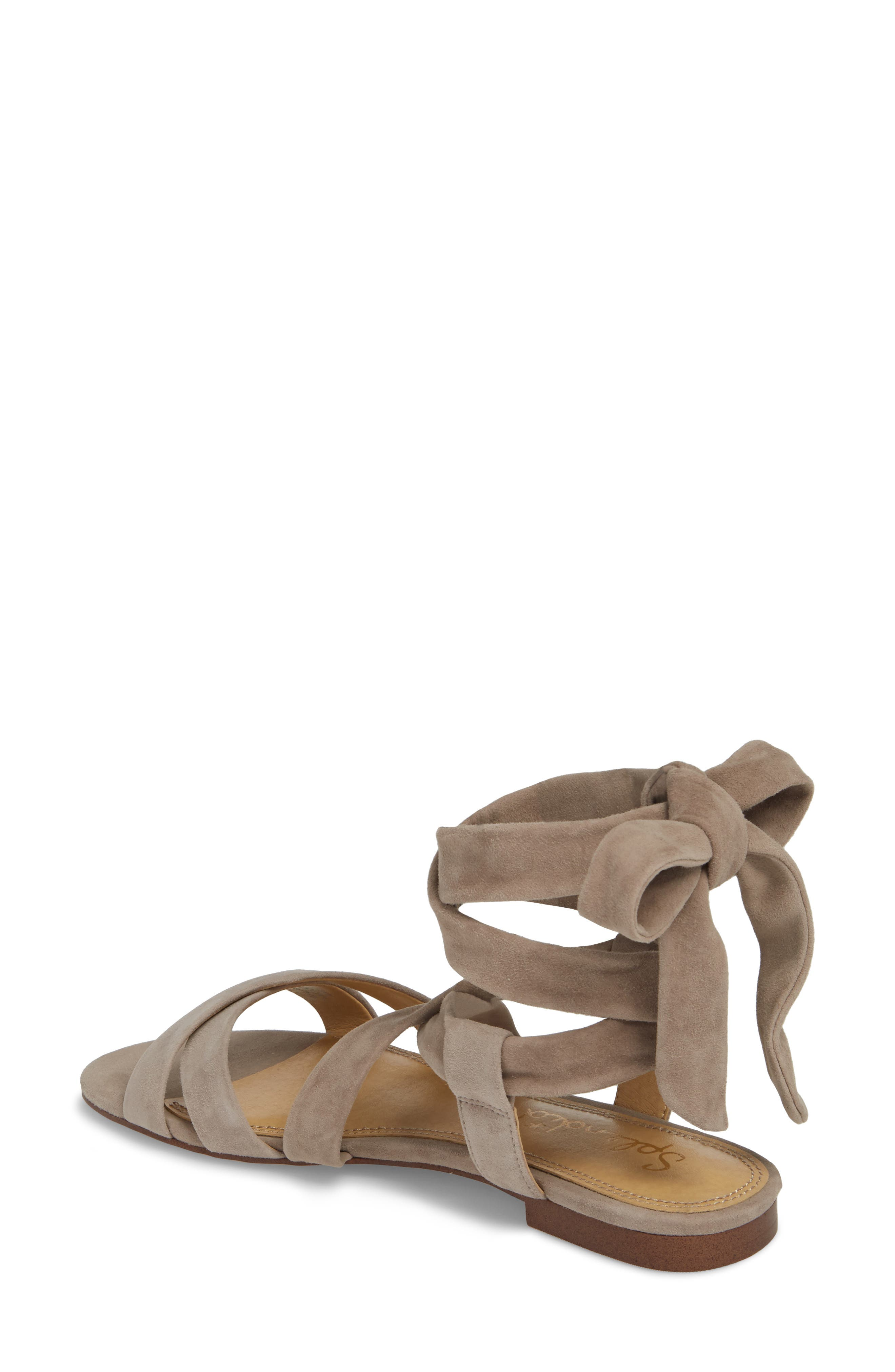 Feodora Ankle Wrap Sandal,                             Alternate thumbnail 2, color,                             TAUPE SUEDE