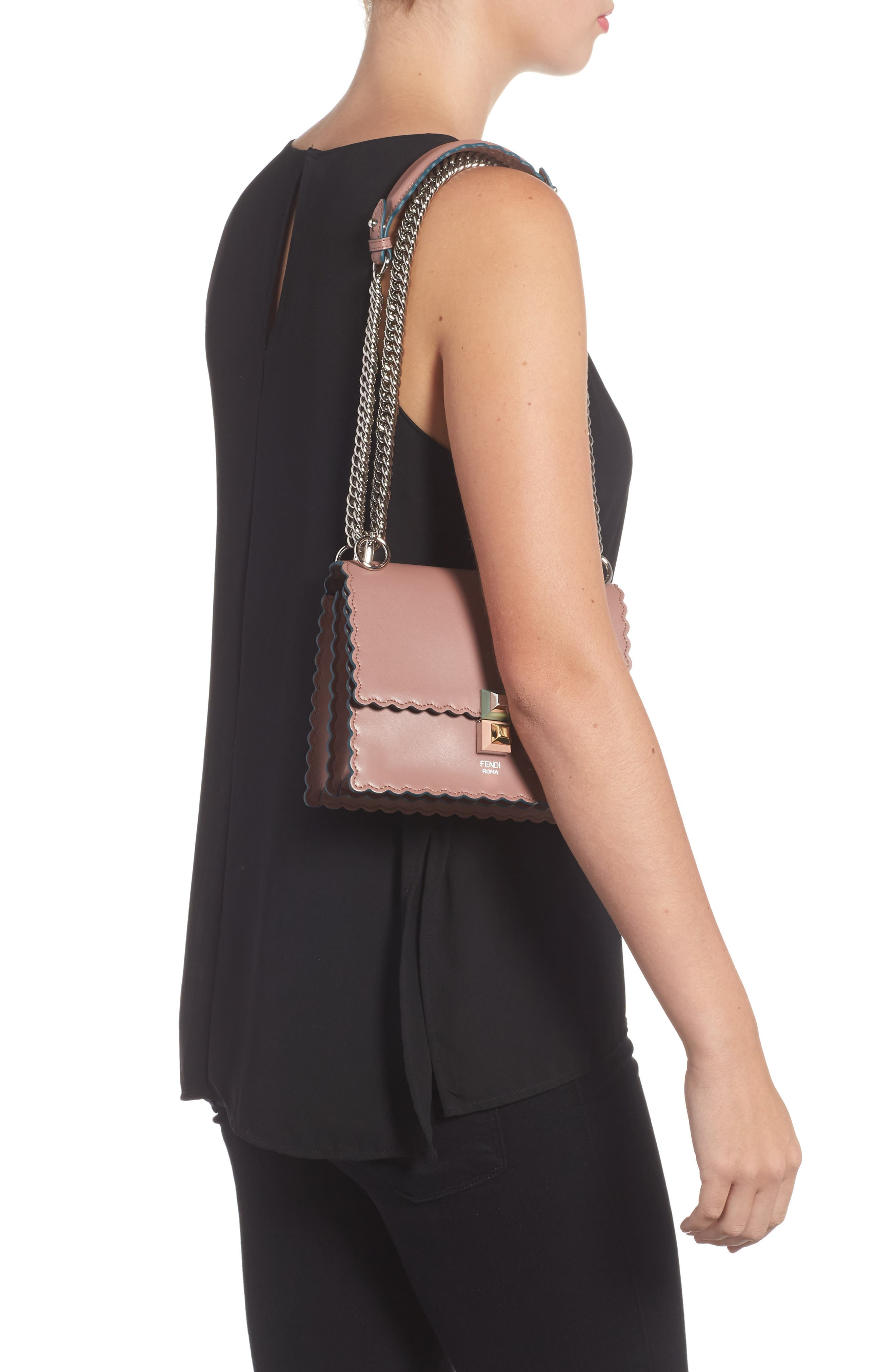 Small Kan I Scallop Leather Shoulder Bag,                             Alternate thumbnail 3, color,