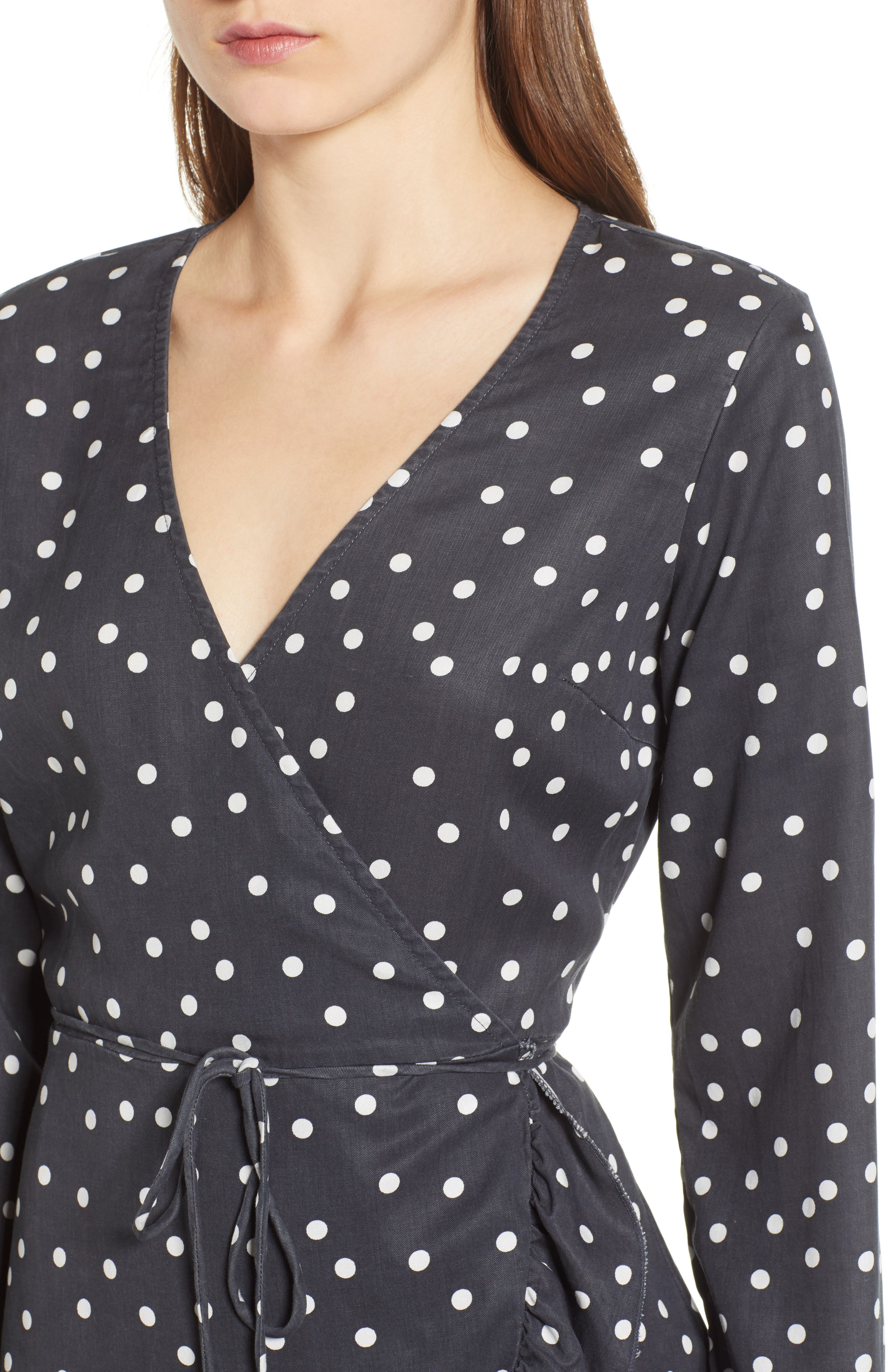 Ainsley Wrap Dress,                             Alternate thumbnail 4, color,                             MIDNIGHT POLKA DOT