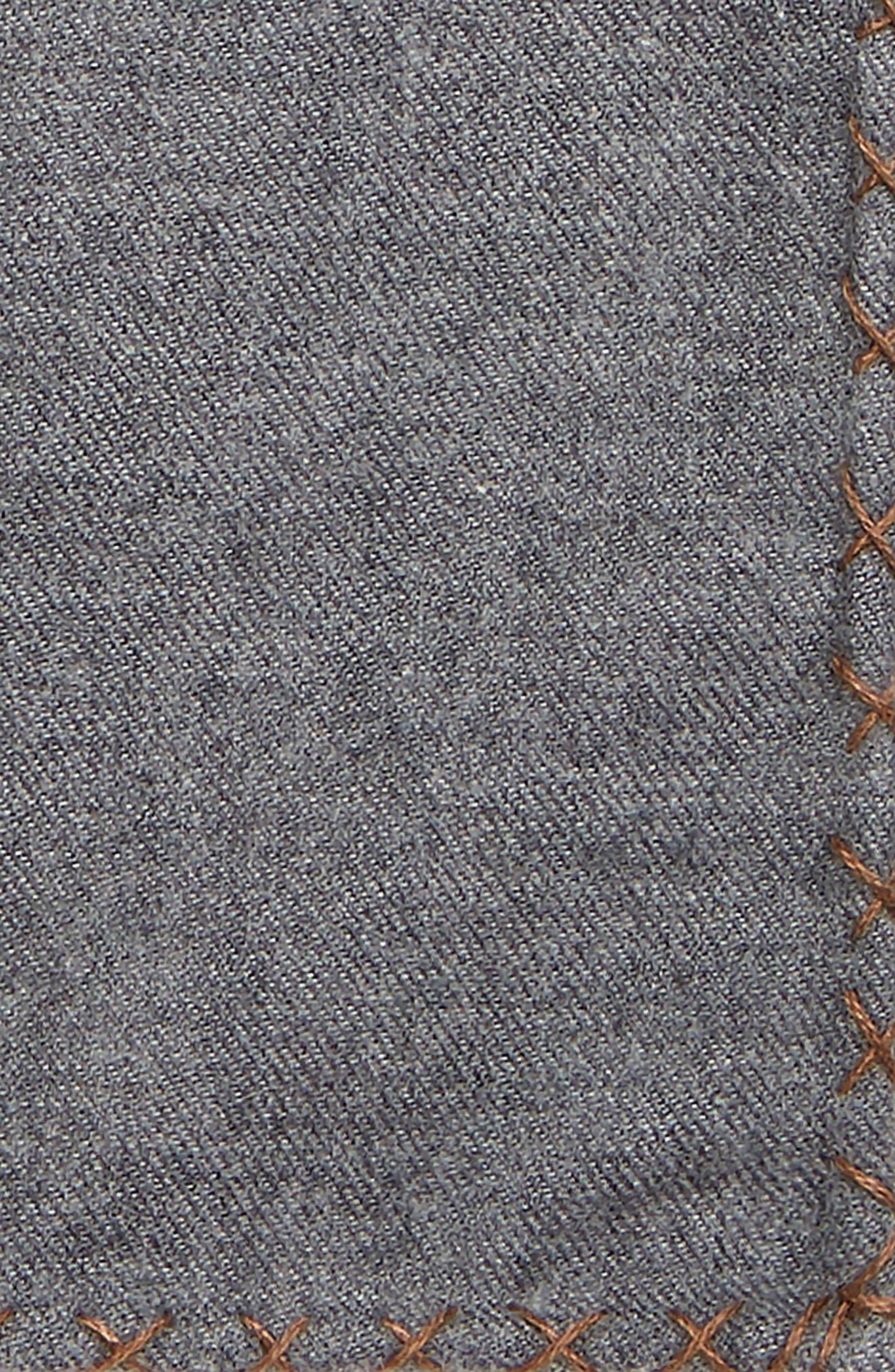 Solid Cotton Pocket Square,                             Alternate thumbnail 3, color,                             GREY/ CAMEL