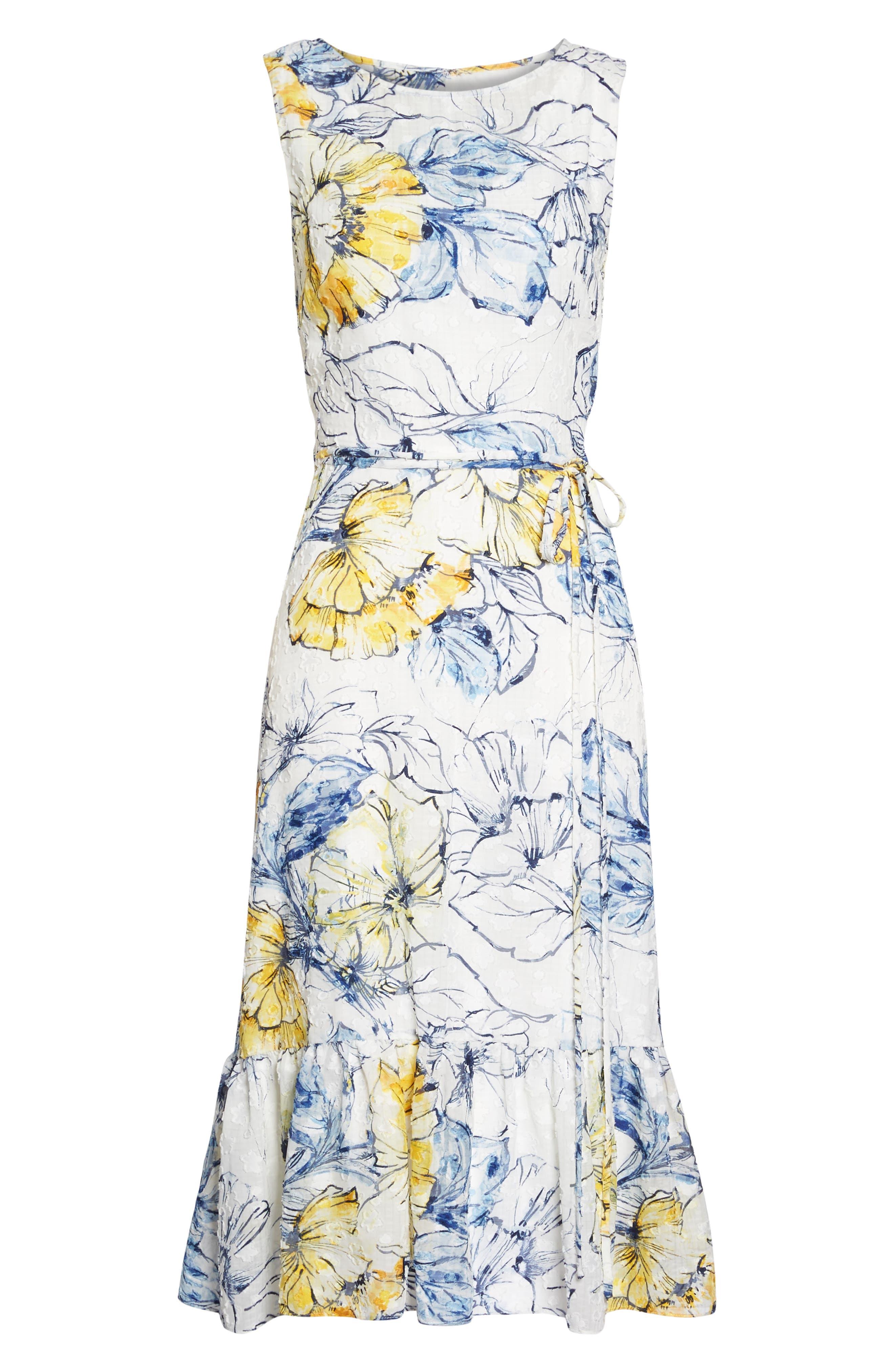 Floral Print Midi Dress,                             Alternate thumbnail 6, color,                             461
