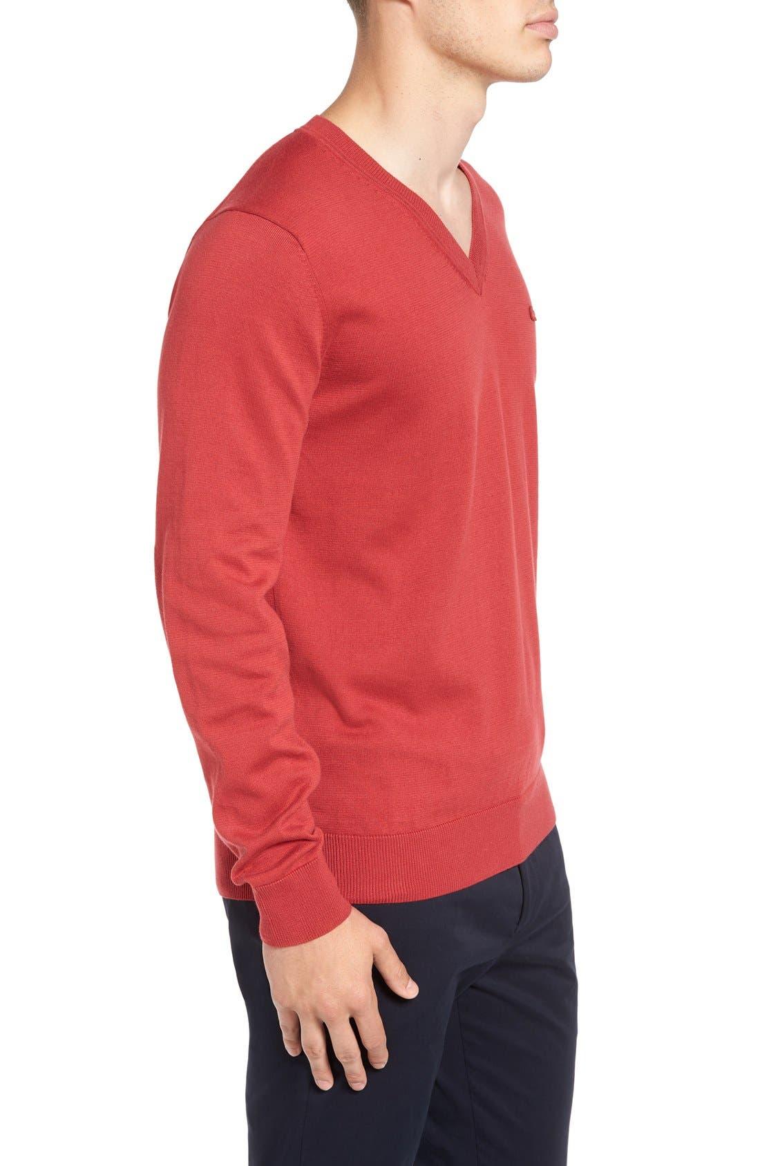 Cotton Jersey V-Neck Sweater,                             Alternate thumbnail 18, color,