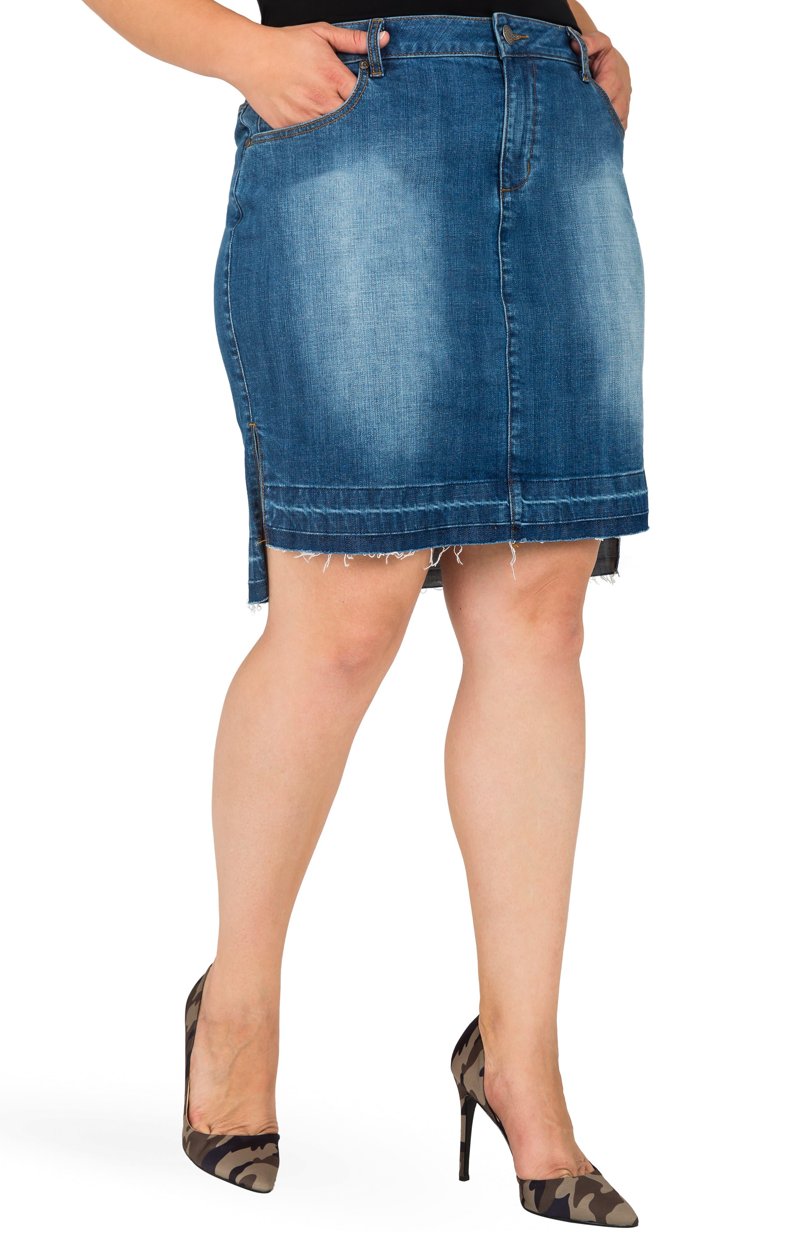 Dariah Released Step Hem Denim Skirt,                             Main thumbnail 1, color,                             BLUE
