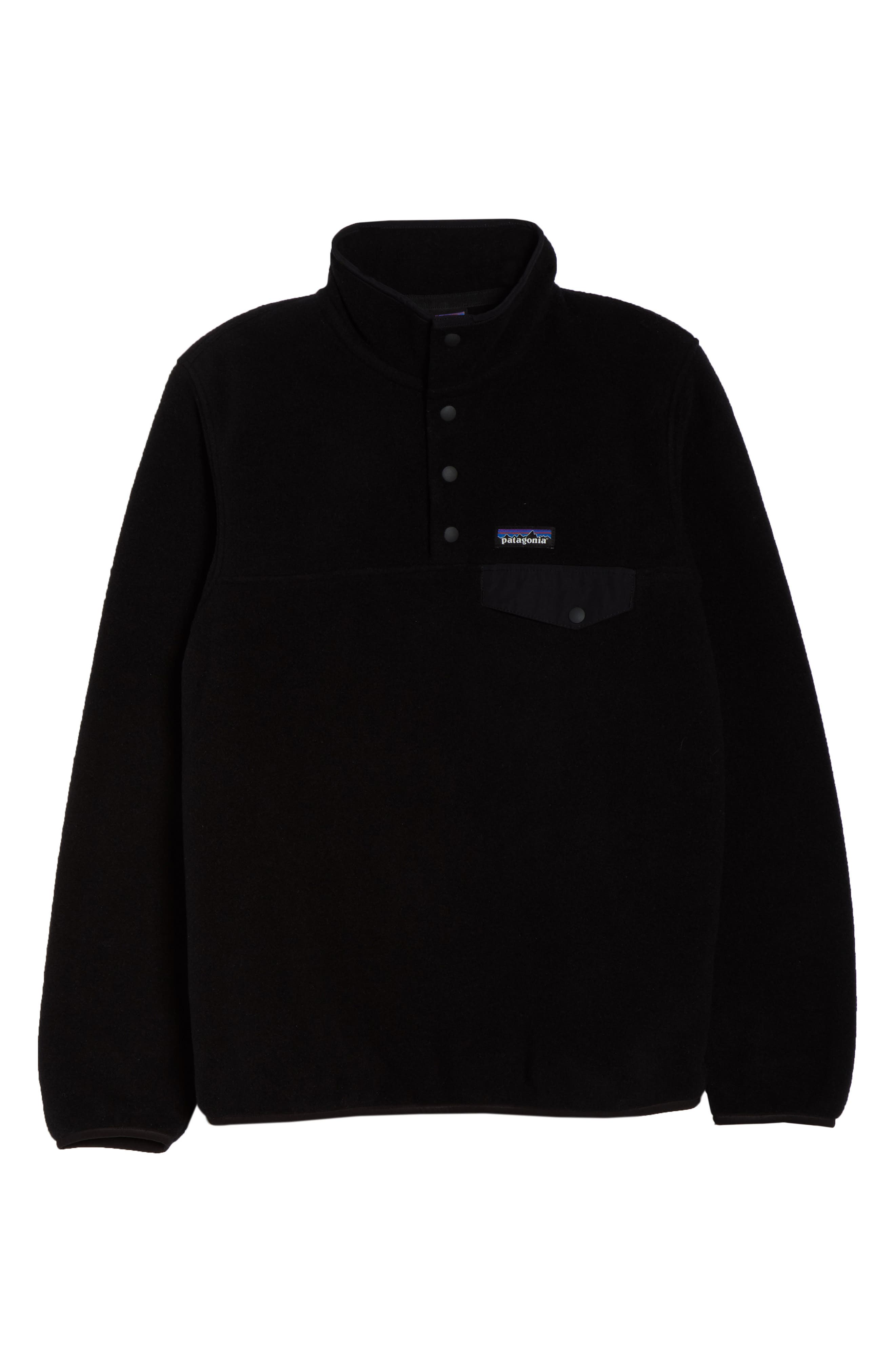 PATAGONIA,                             Synchilla Snap-T<sup>®</sup> Fleece Pullover,                             Alternate thumbnail 6, color,                             BLACK W/ BLACK