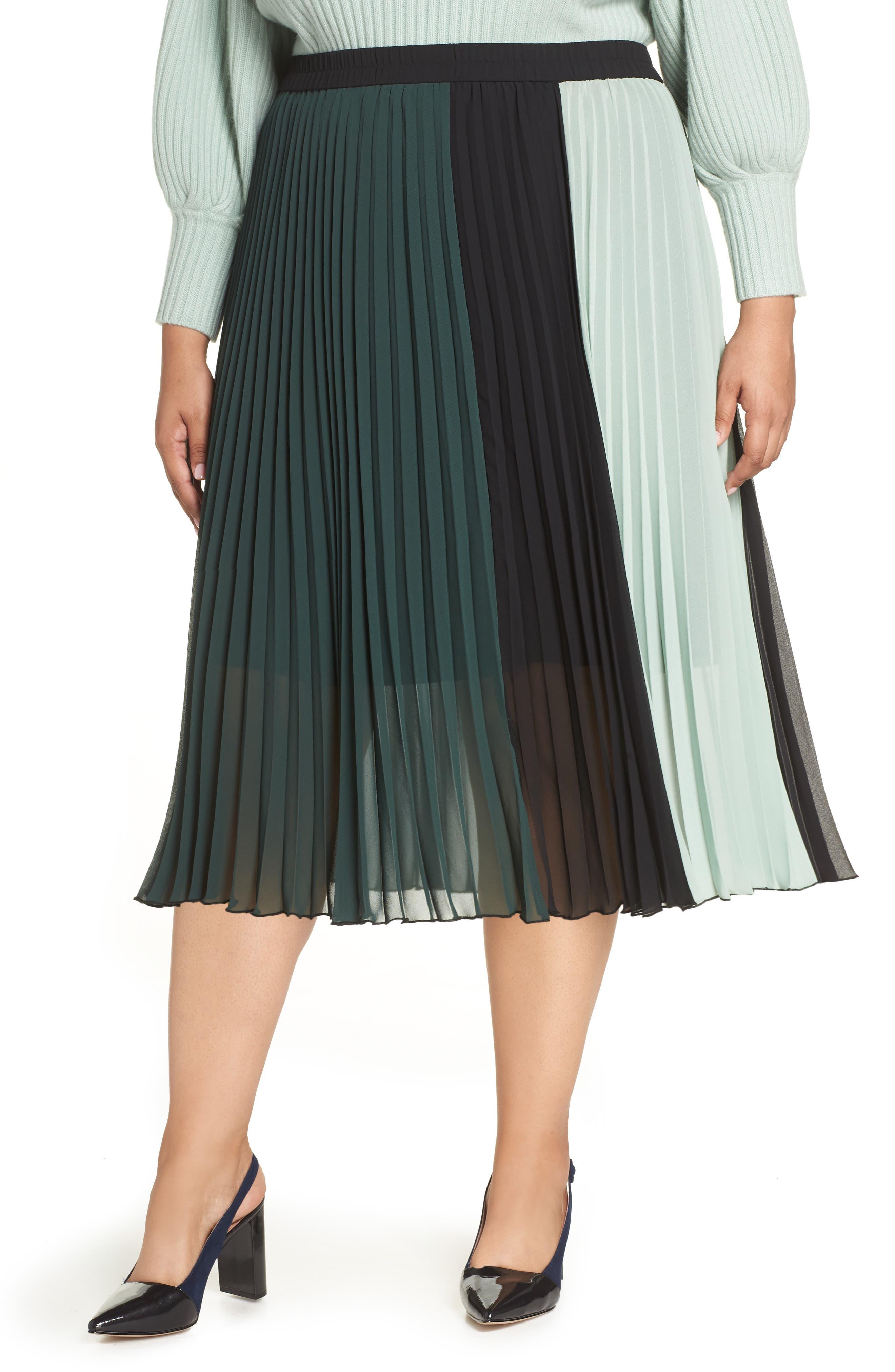 x Atlantic-Pacific Colorblock Pleated Midi Skirt,                         Main,                         color, GREEN- BLACK COLORBLOCK